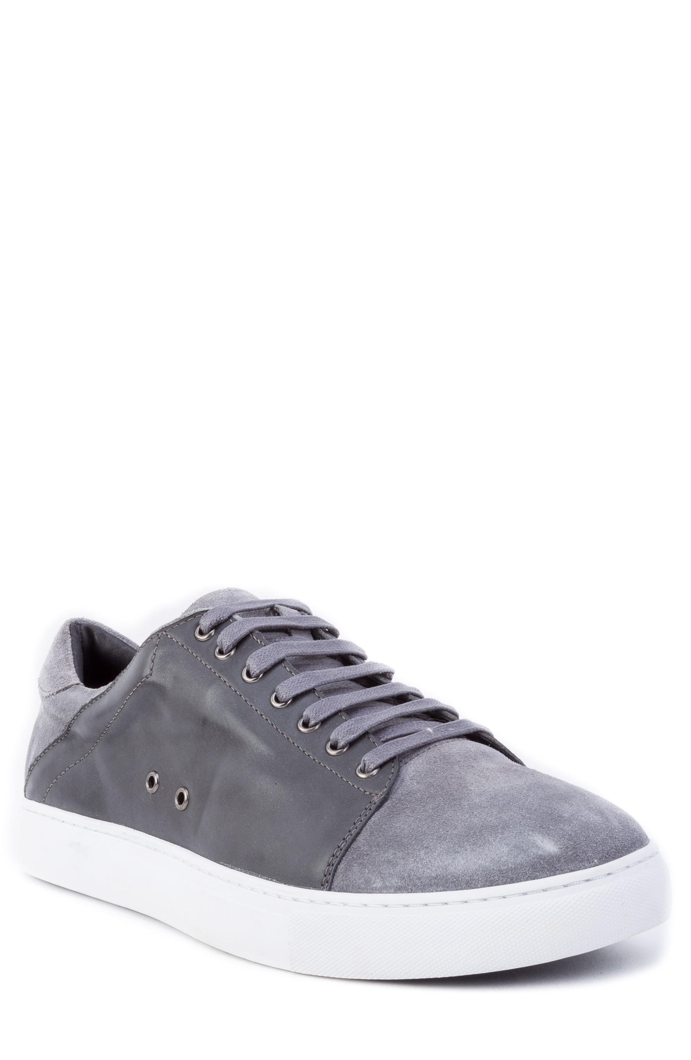 Zanzara Record Low Top Sneaker In Grey Suede/ Leather