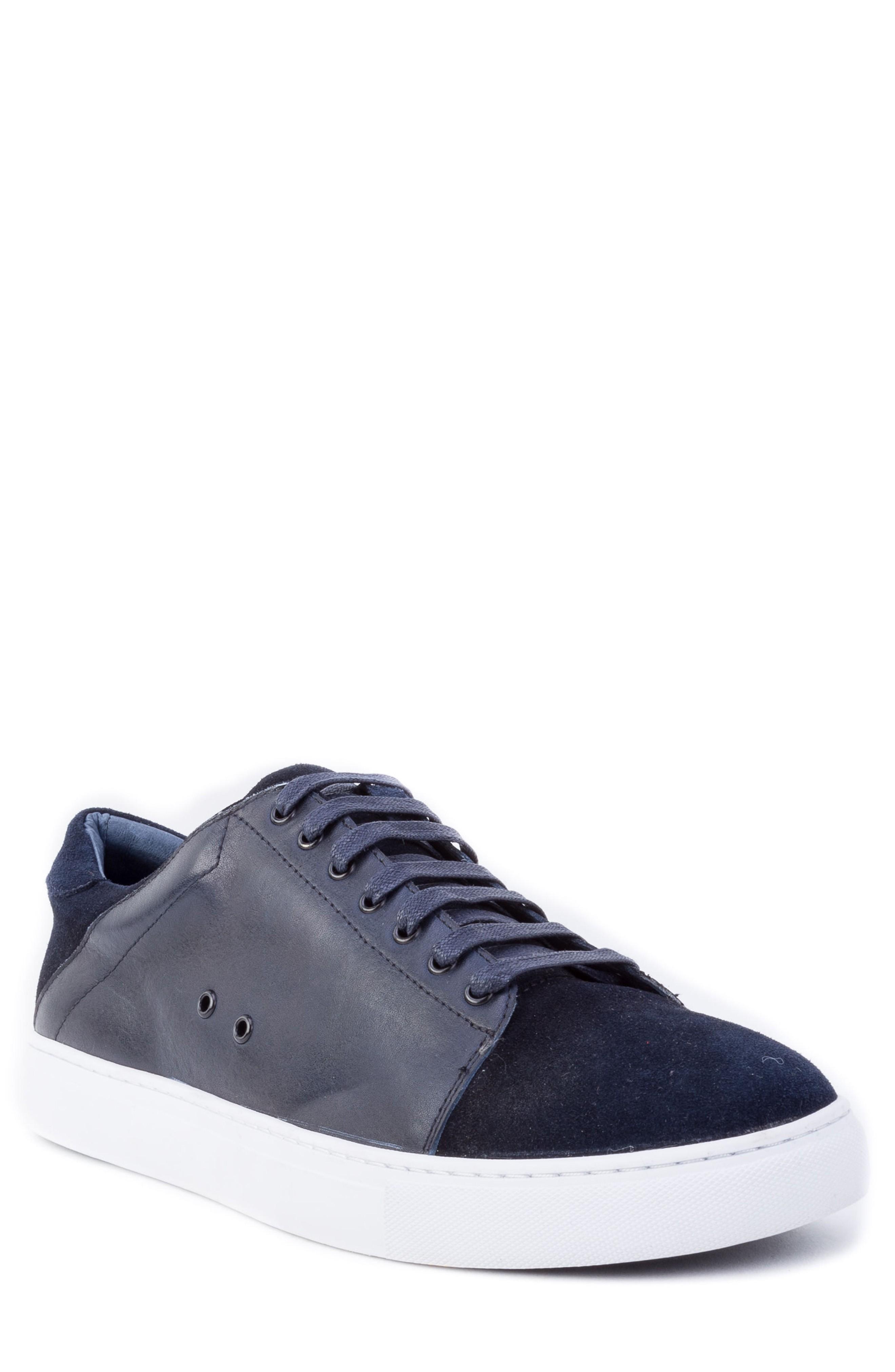 Zanzara Record Low Top Sneaker In Navy Suede/ Leather