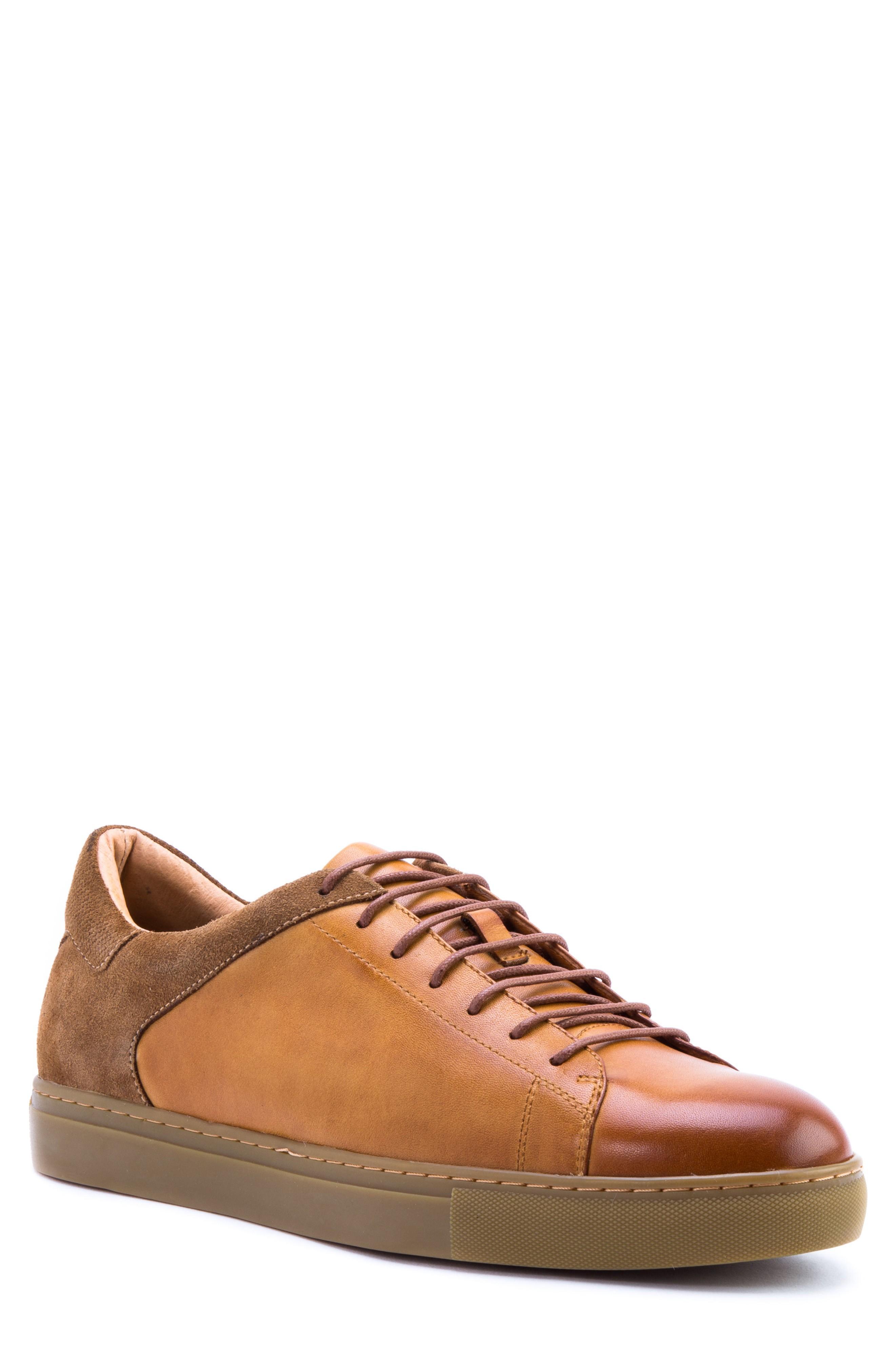 Zanzara Cue Low Top Sneaker In Cognac Leather/ Suede