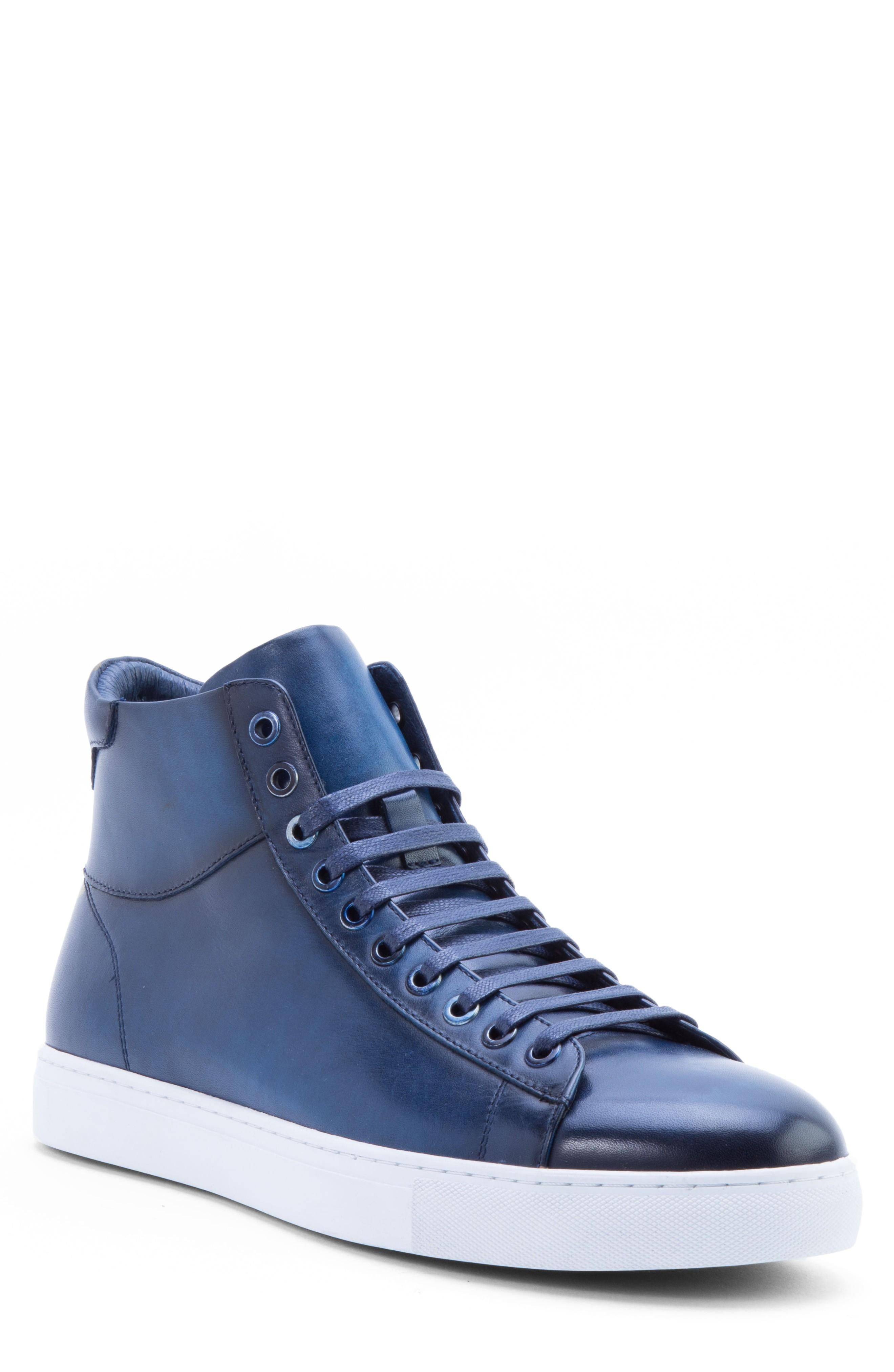 Zanzara Spinback High Top Sneaker In Blue Leather