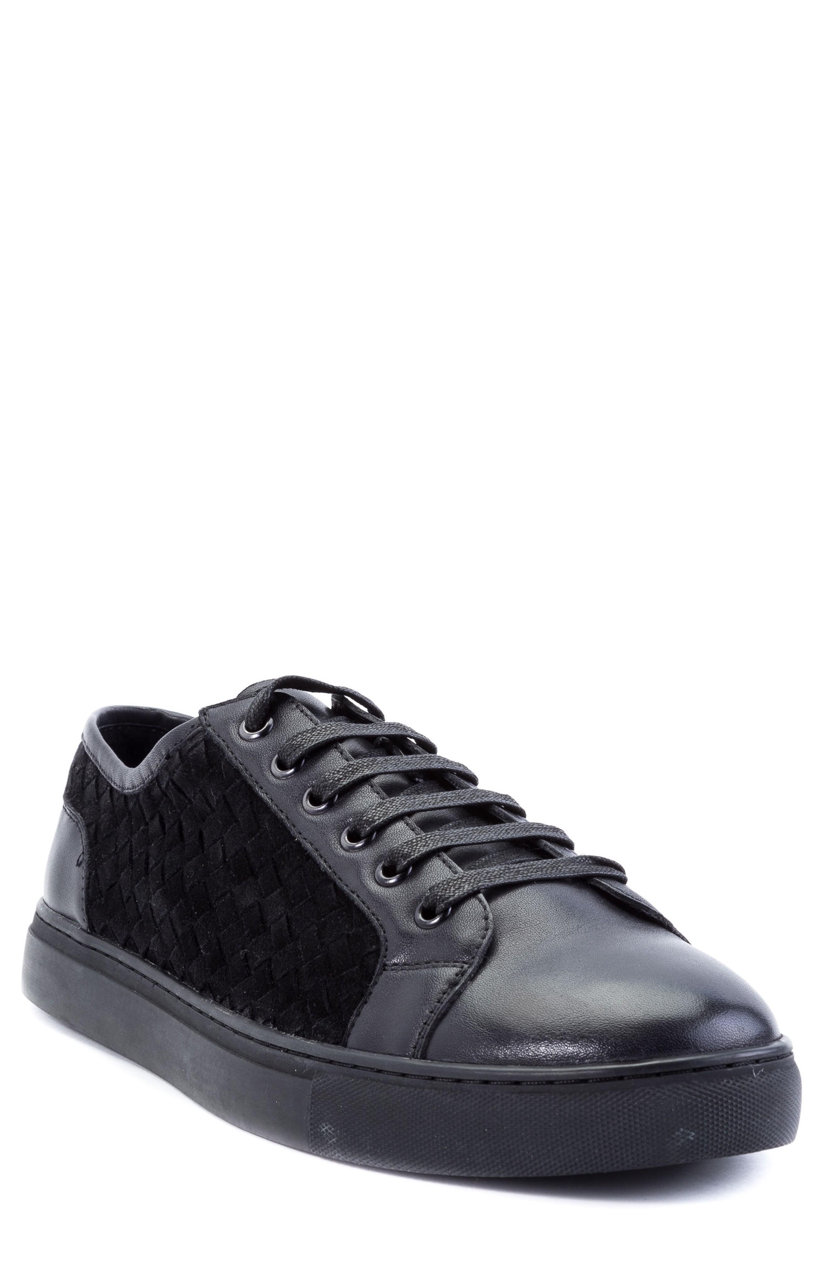 Zanzara Player Woven Low Top Sneaker In Black Leather/ Suede
