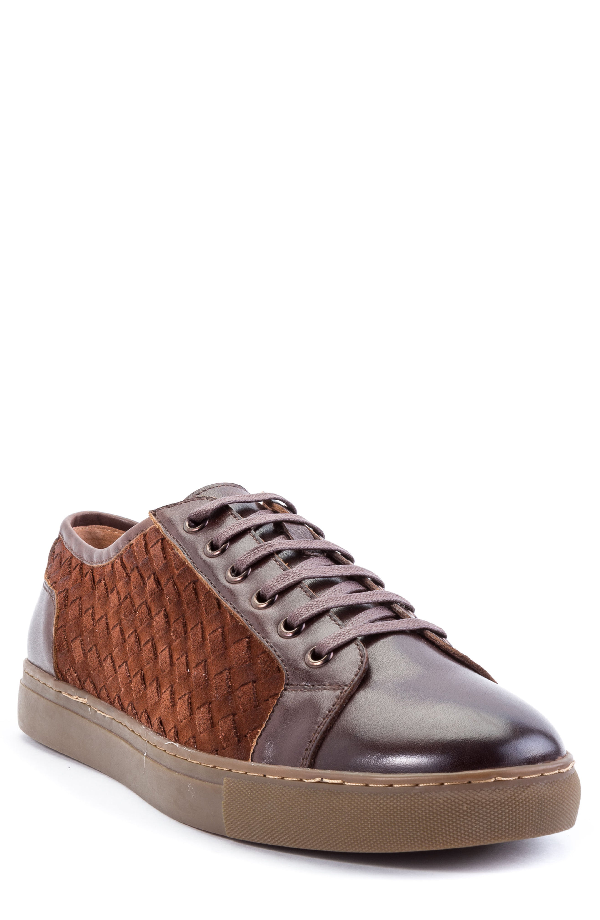 Zanzara Player Woven Low Top Sneaker In Brown Leather/ Suede
