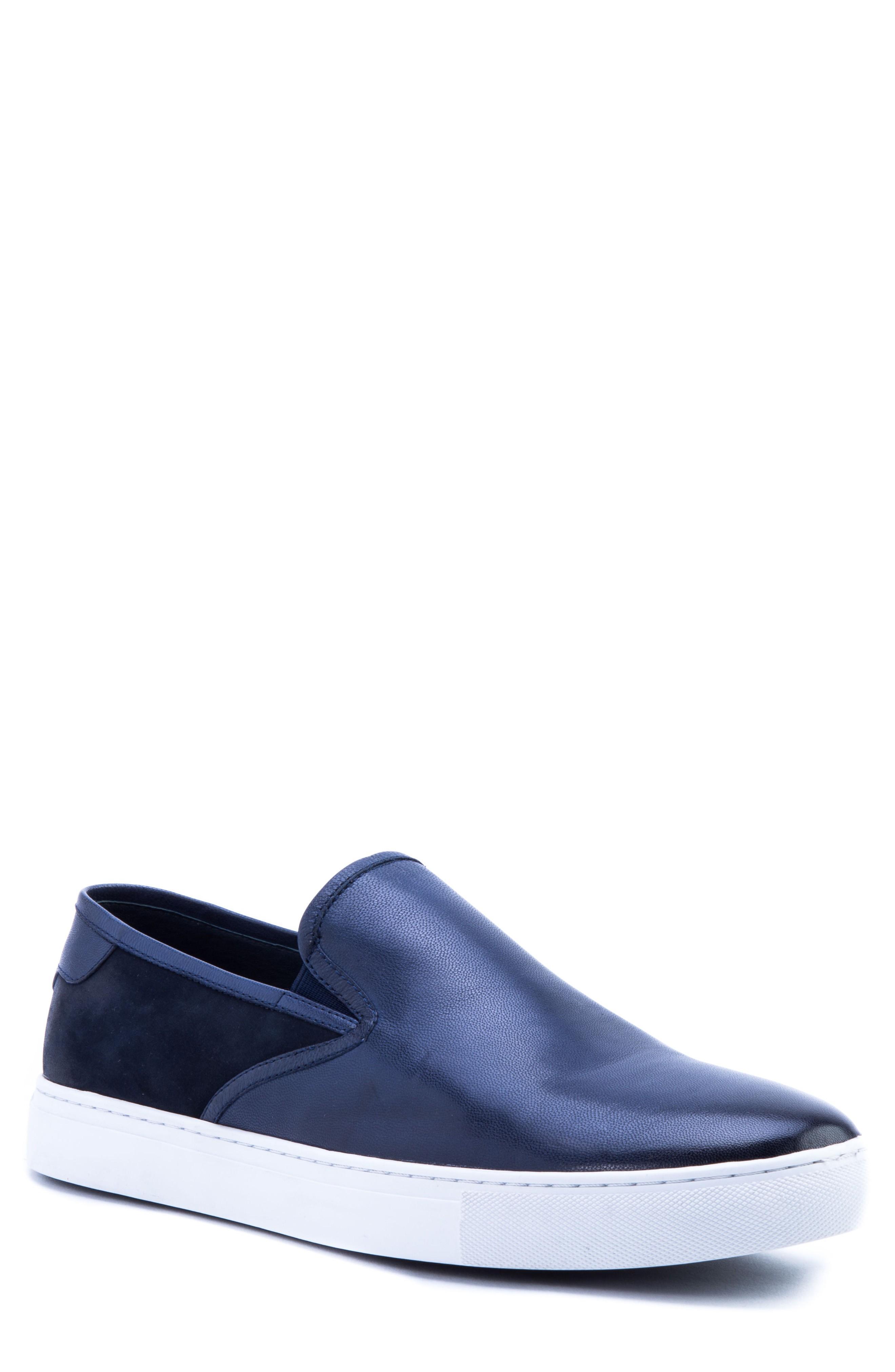 Zanzara Duchamps Slip-on Sneaker In Navy Leather/ Suede