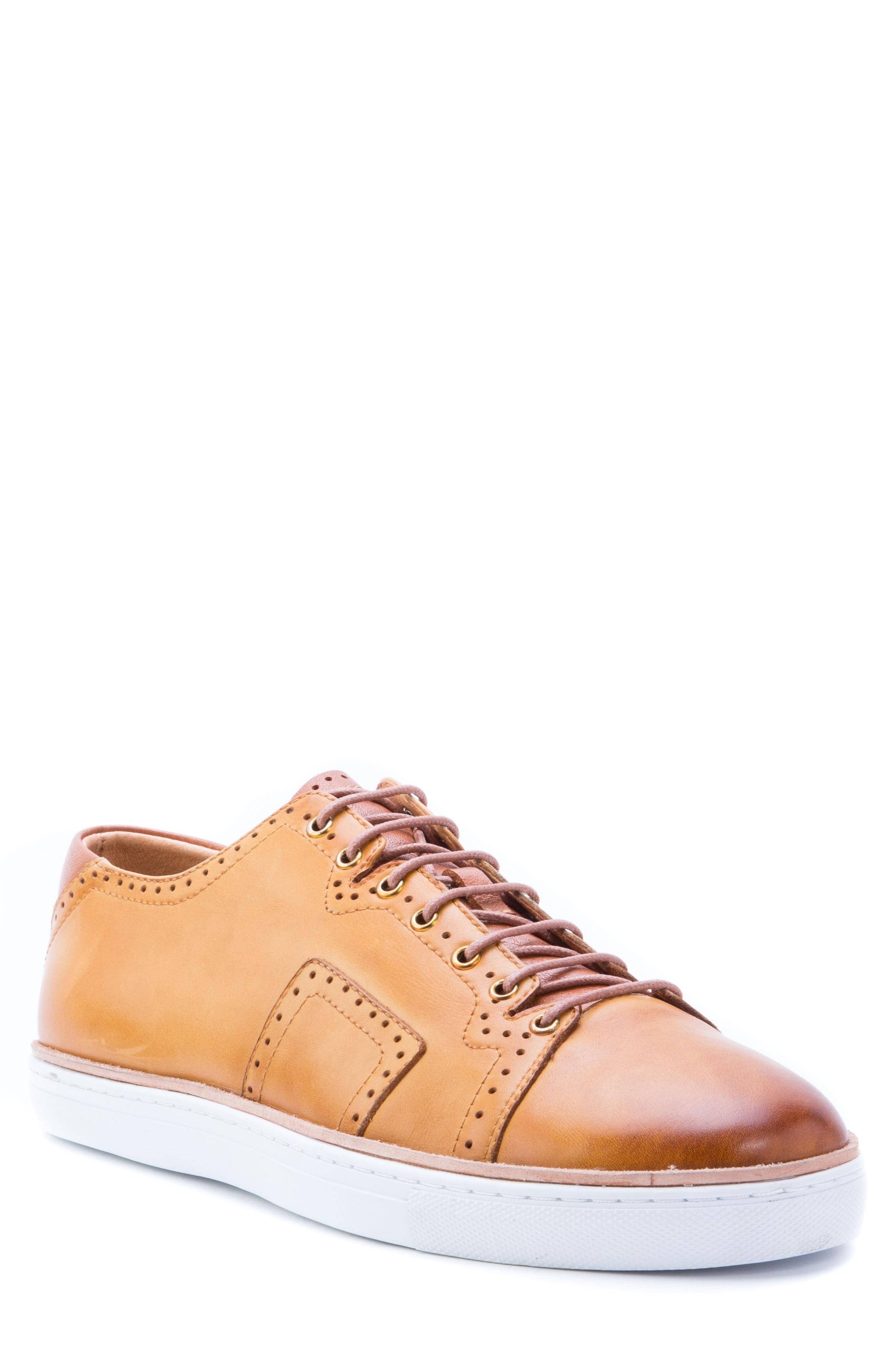 Robert Graham Marti Low Top Sneaker In Cognac Leather
