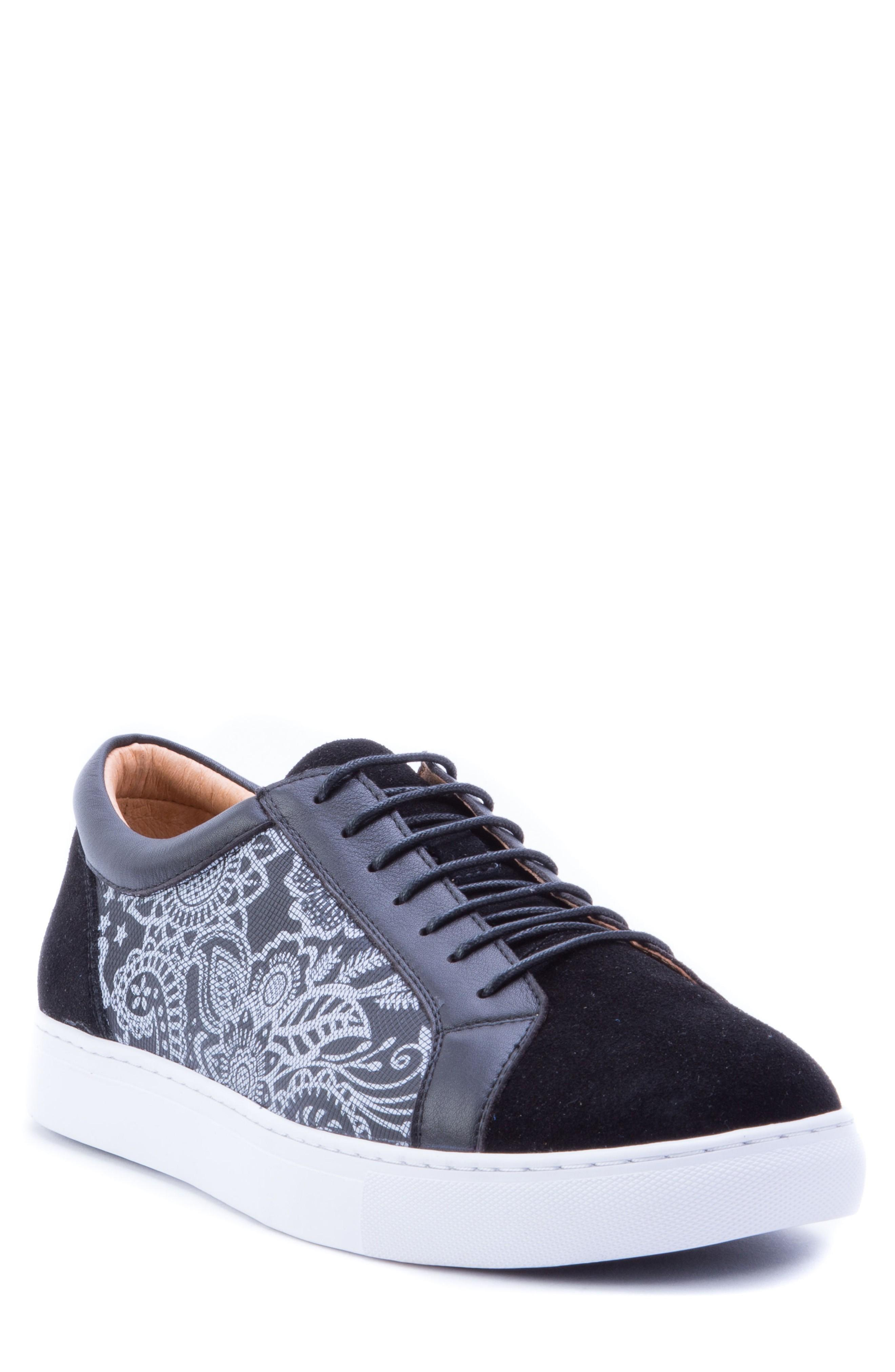 Robert Graham Rubio Floral Sneaker In Black Suede
