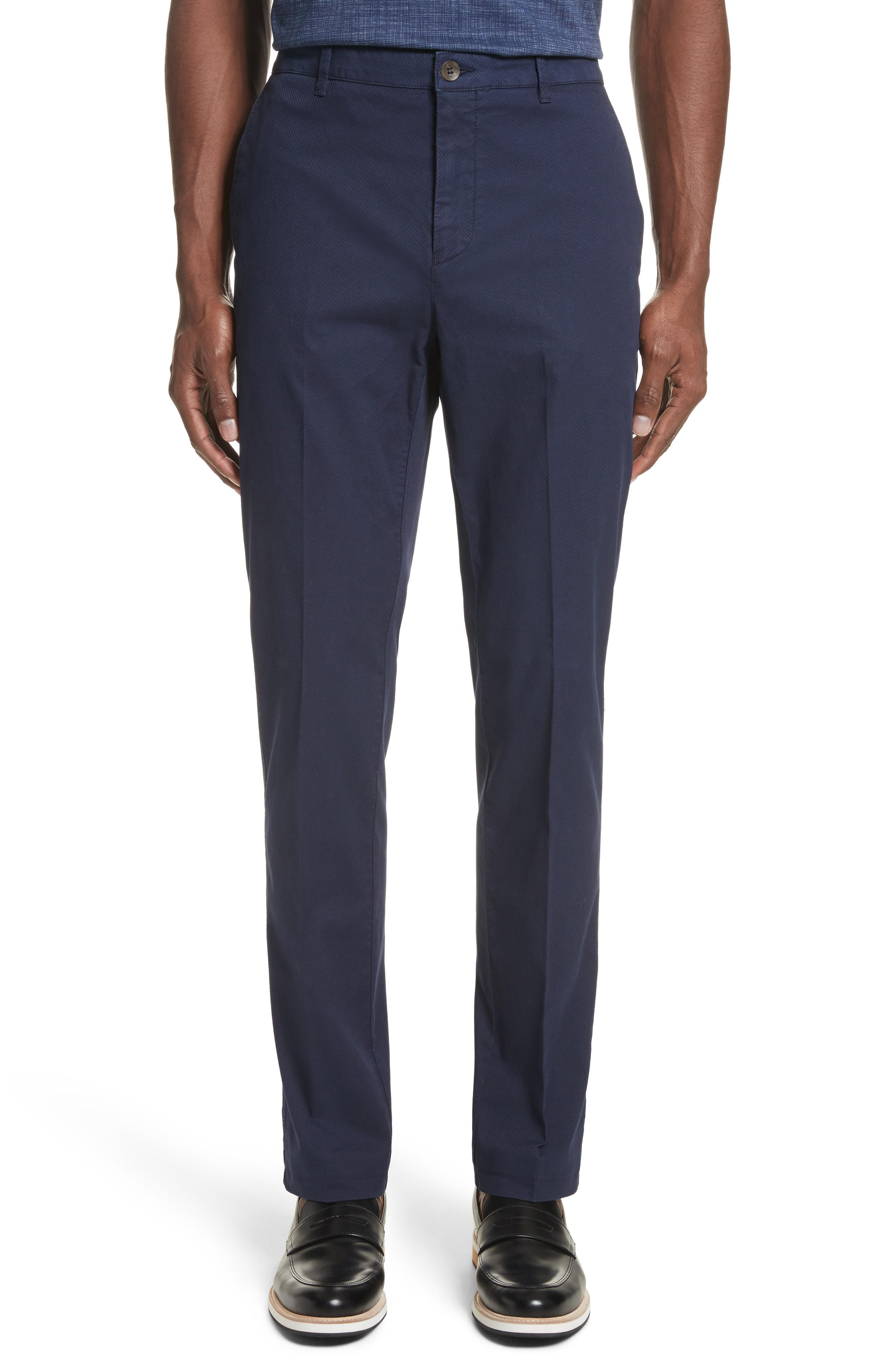Canali Flat Front Stretch Solid Cotton Trousers In Navy