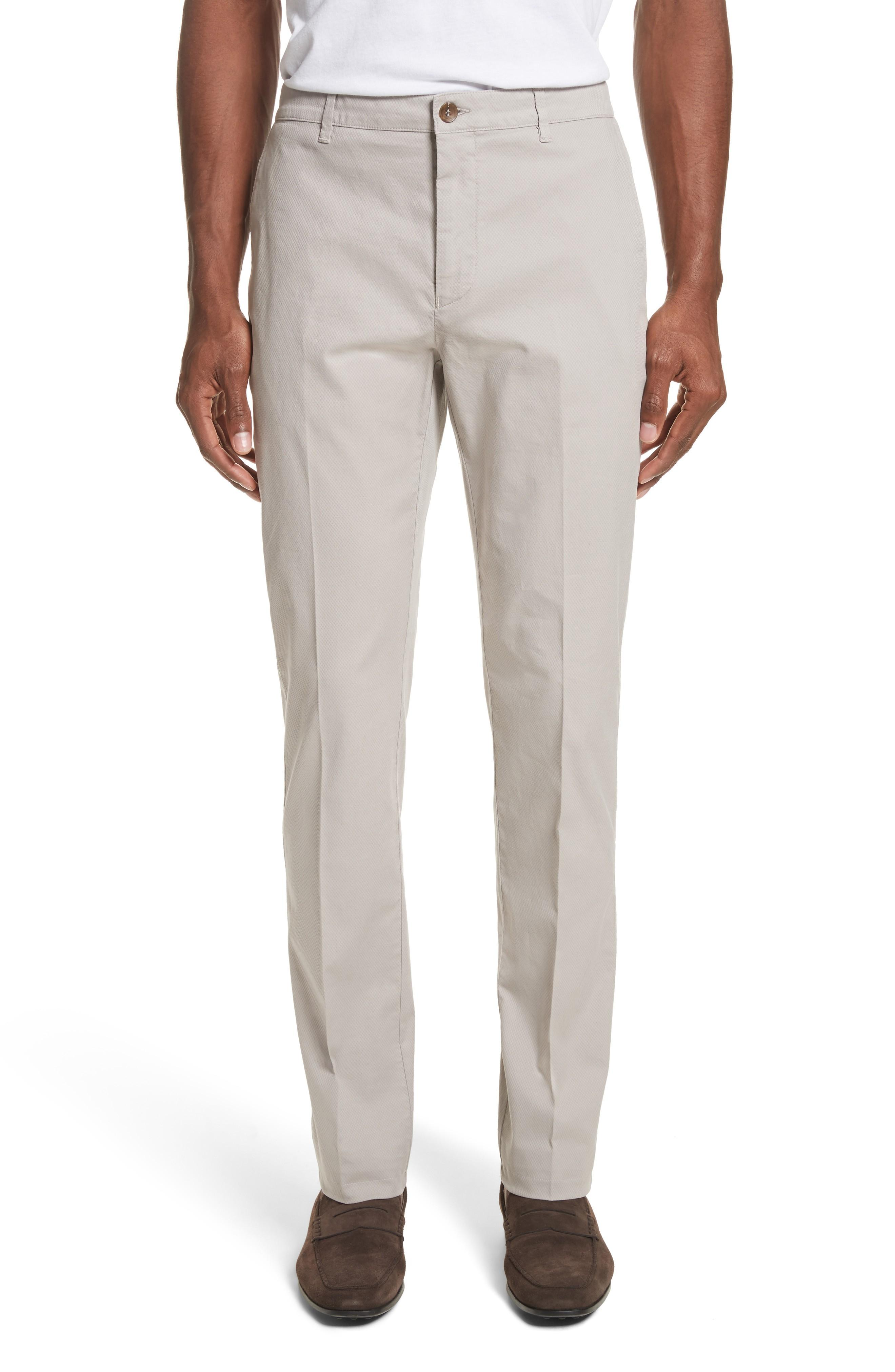 Canali Flat Front Stretch Solid Cotton Trousers In Stone