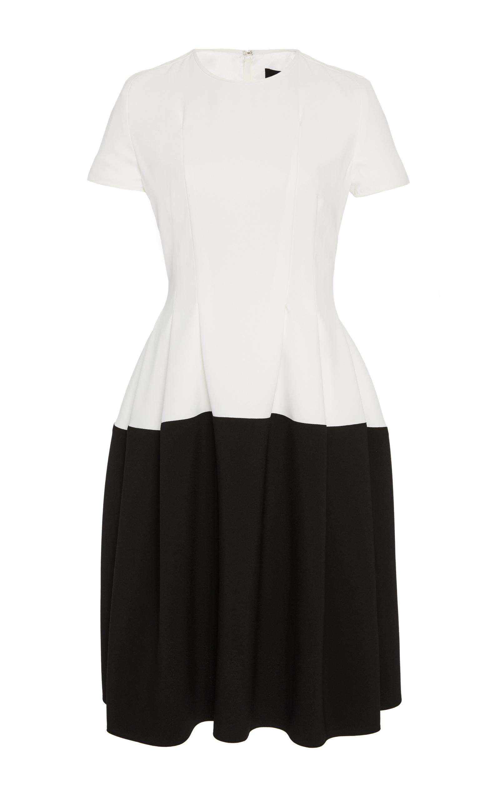 Paule Ka Short Sleeve A Line Dress In Black%2fwhite