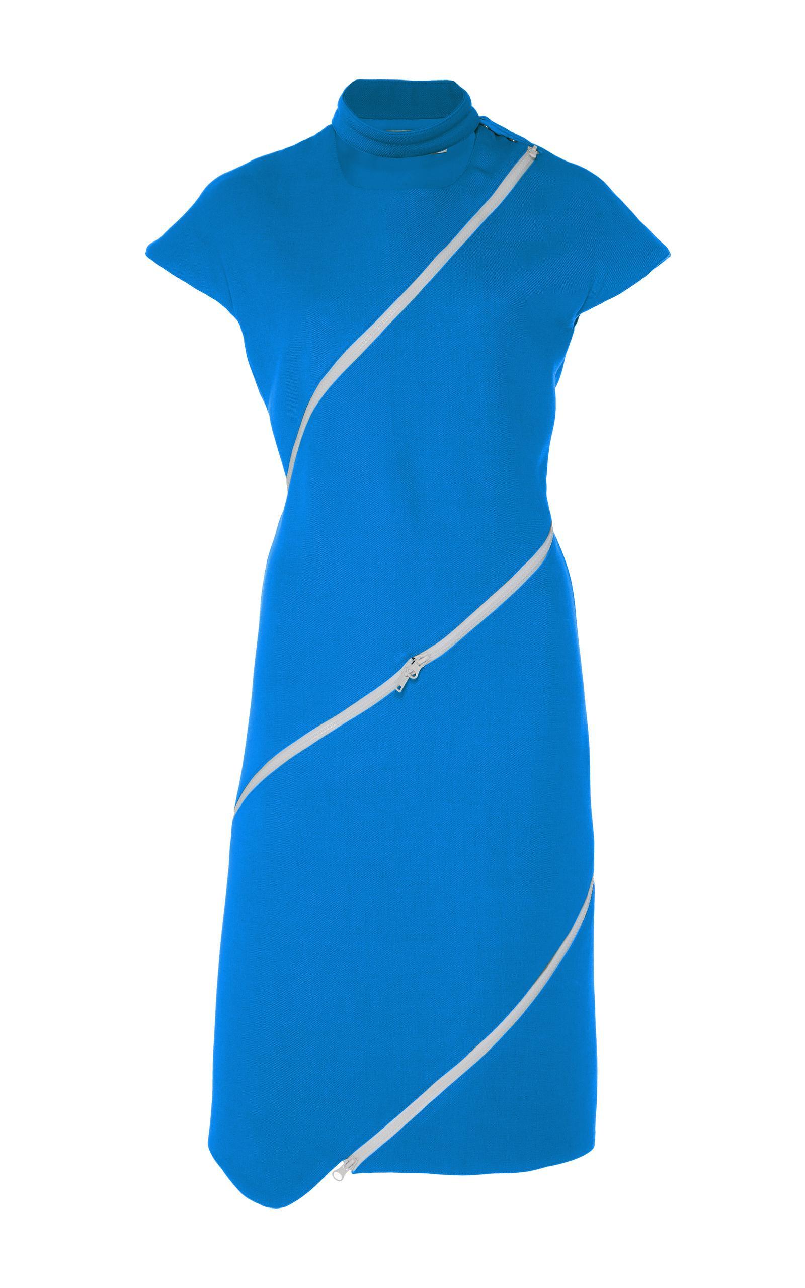CourrÈges Striped Zip Dress In Blue