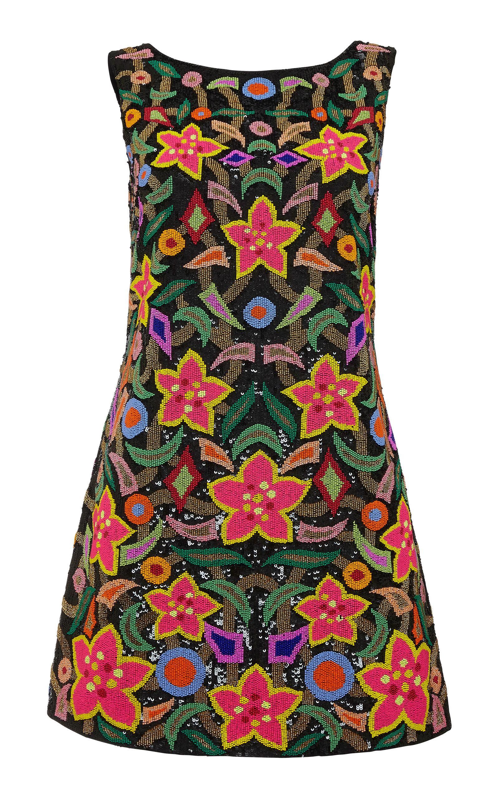 Khosla Jani Beaded Mini Dress In Multi