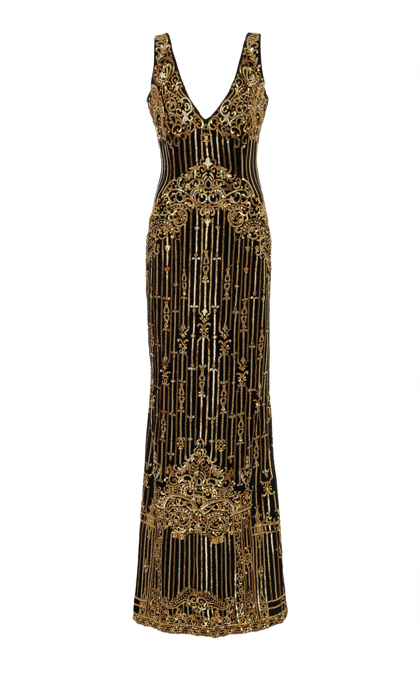 Khosla Jani Bead Embroidered Gown In Gold