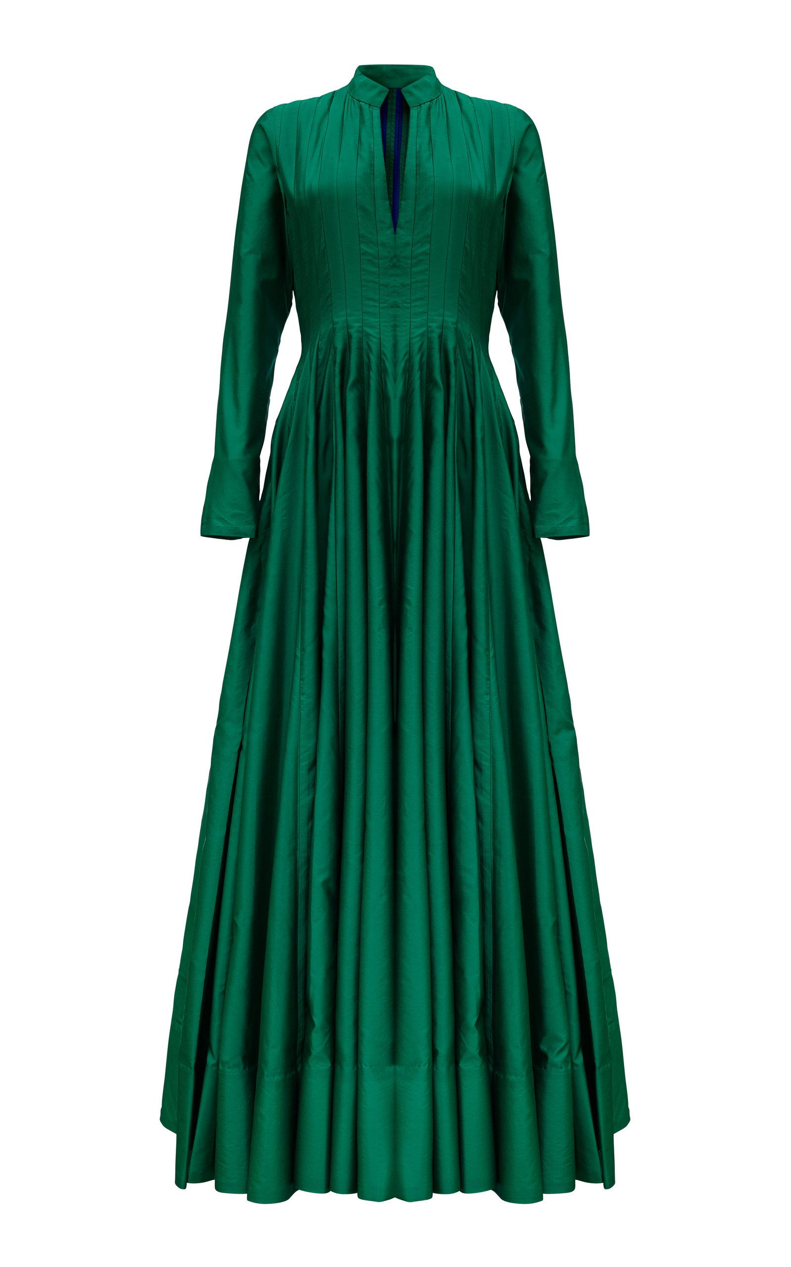 Khosla Jani Pleated A Line Gown In Green
