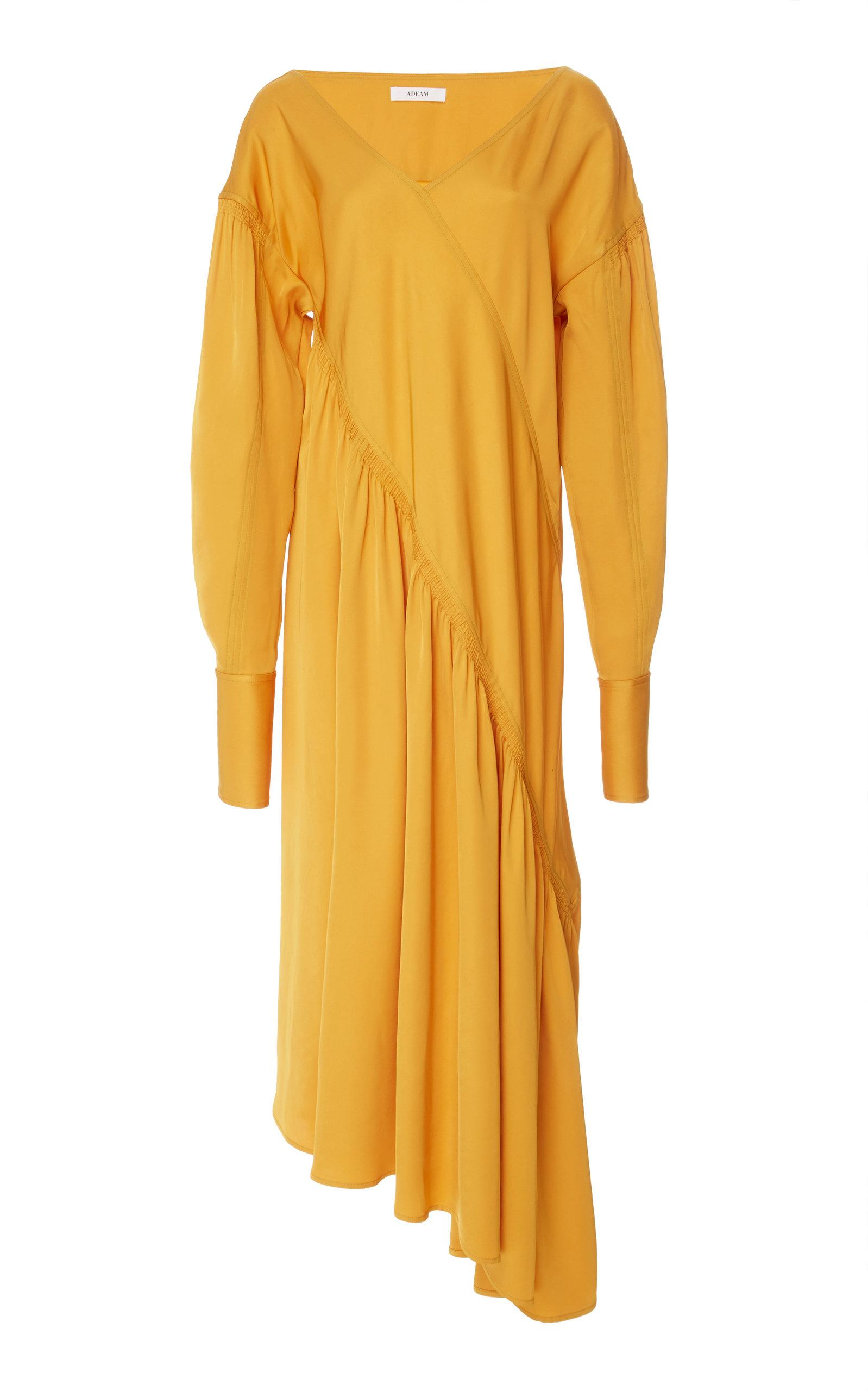 Adeam Bias Ruched Dress In Yellow
