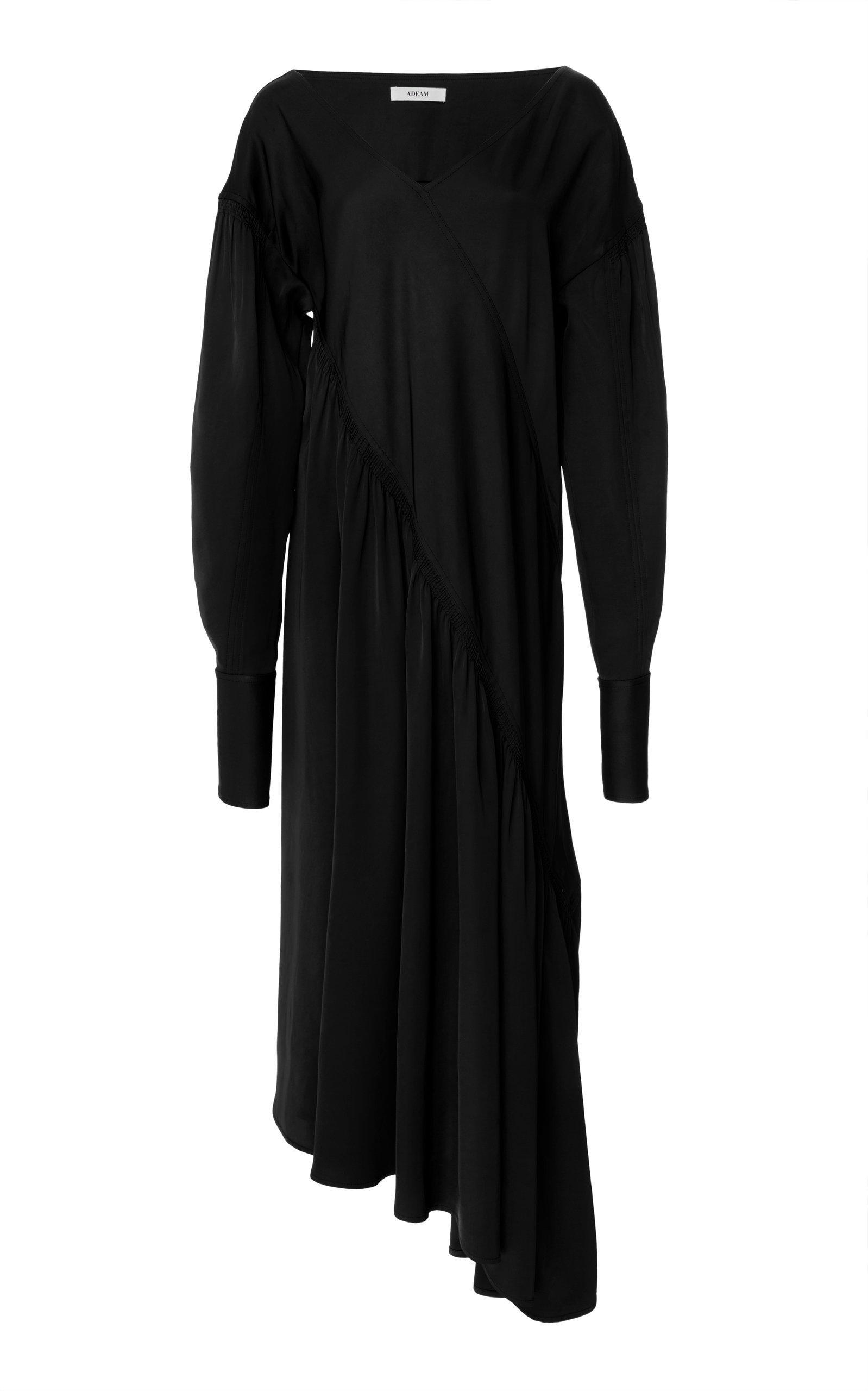Adeam Bias Ruched Dress In Black