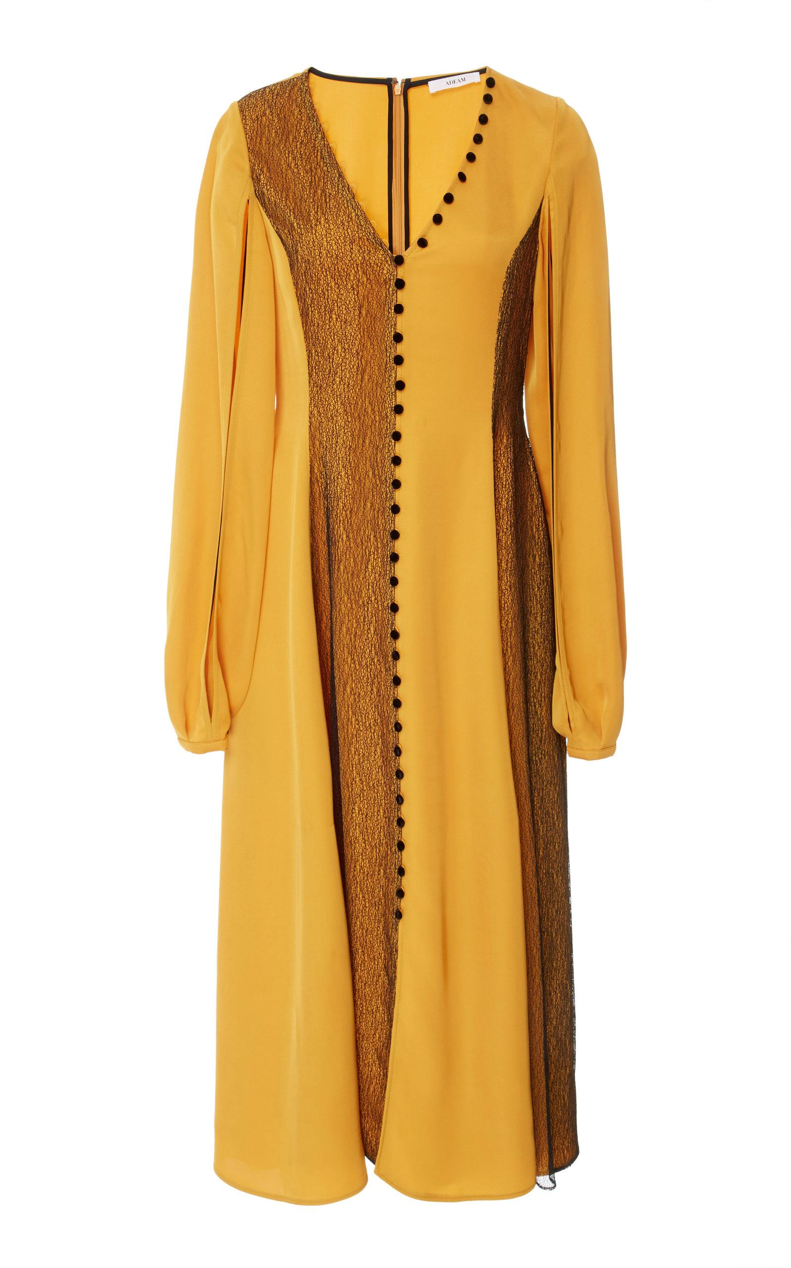 Adeam Lace Buttoned V-neck Dress In Yellow
