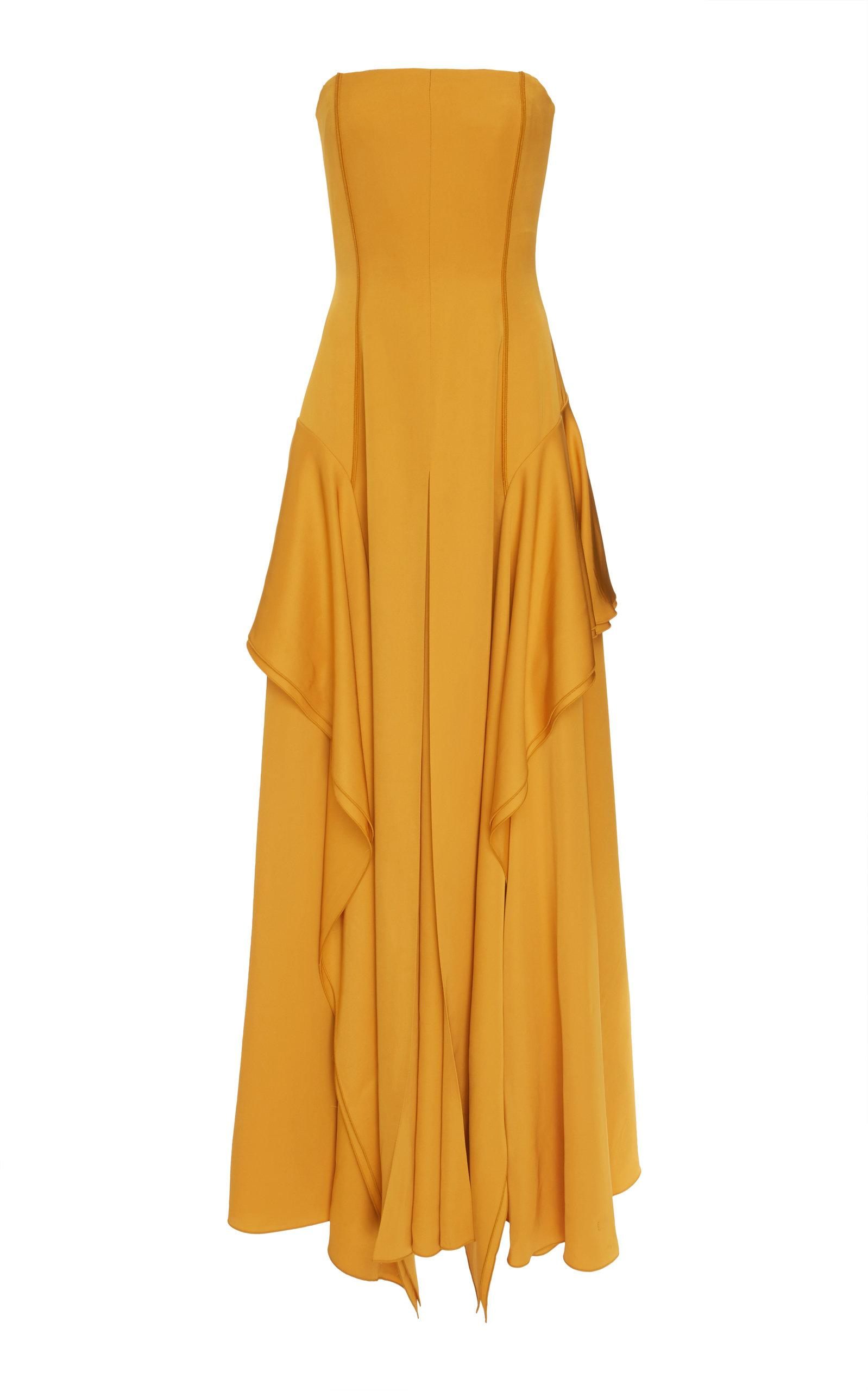 Adeam Layered Flounce Gown In Yellow