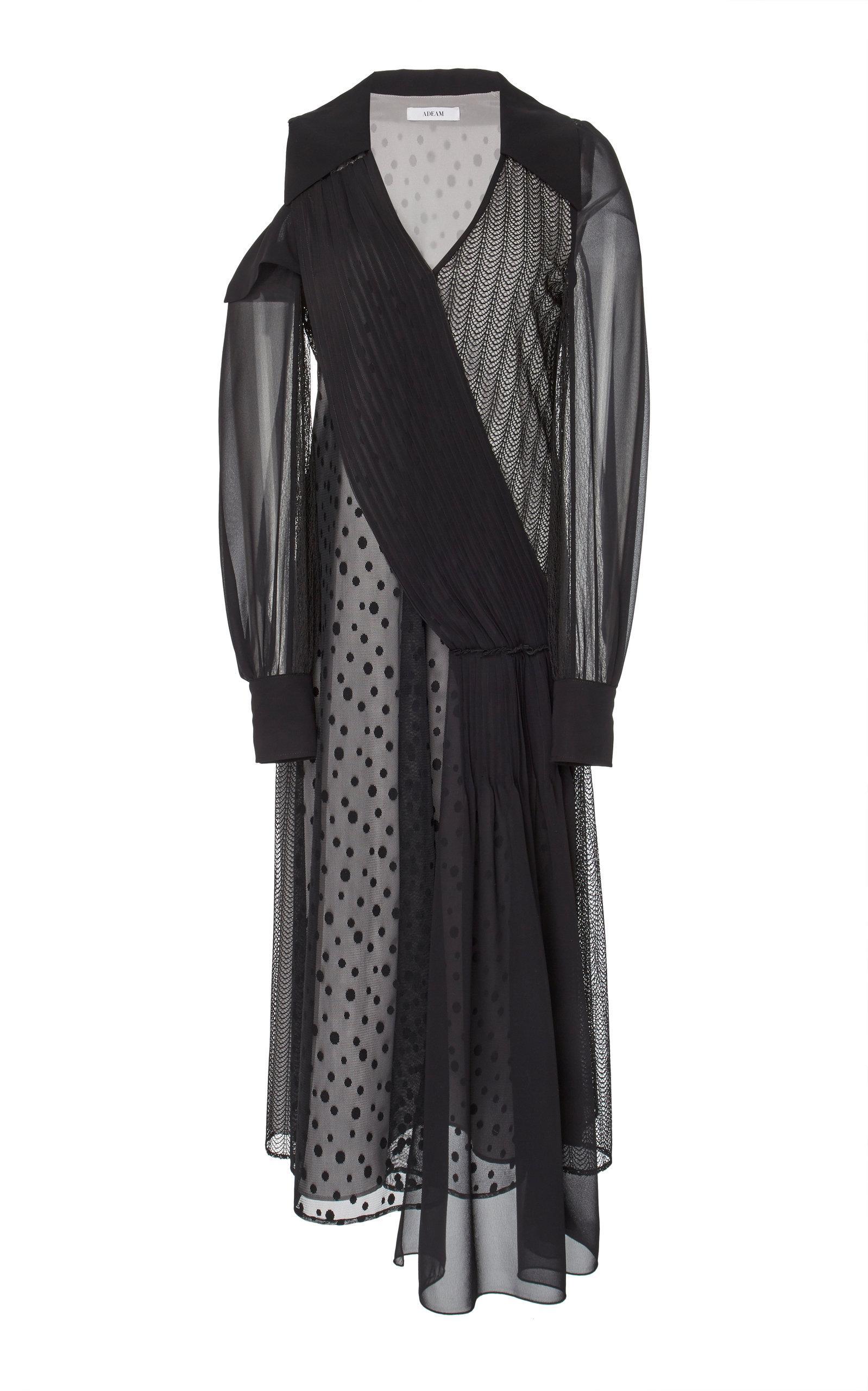 Adeam Art Deco Lace Dress In Black