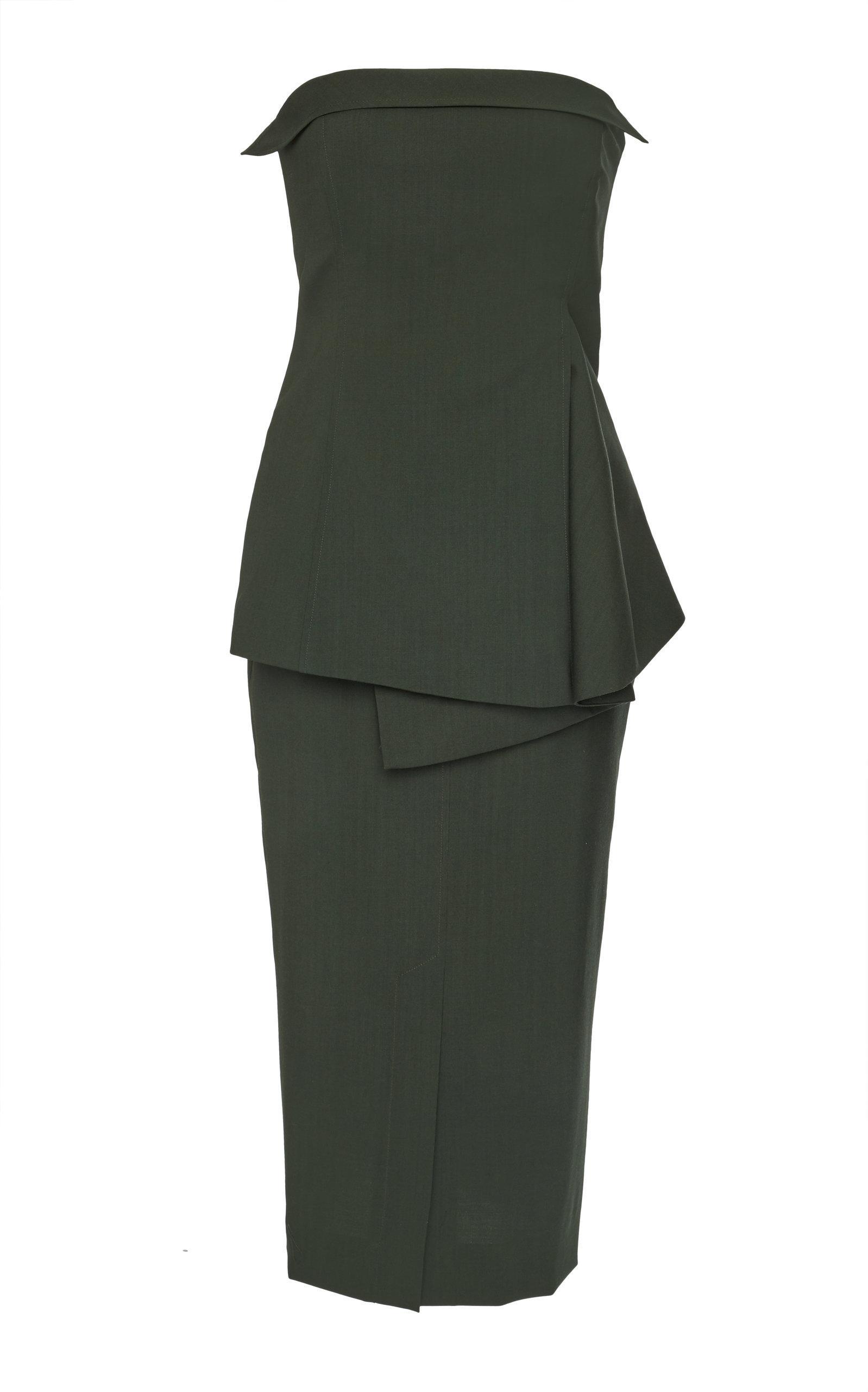 Adeam Bustier Dress In Green