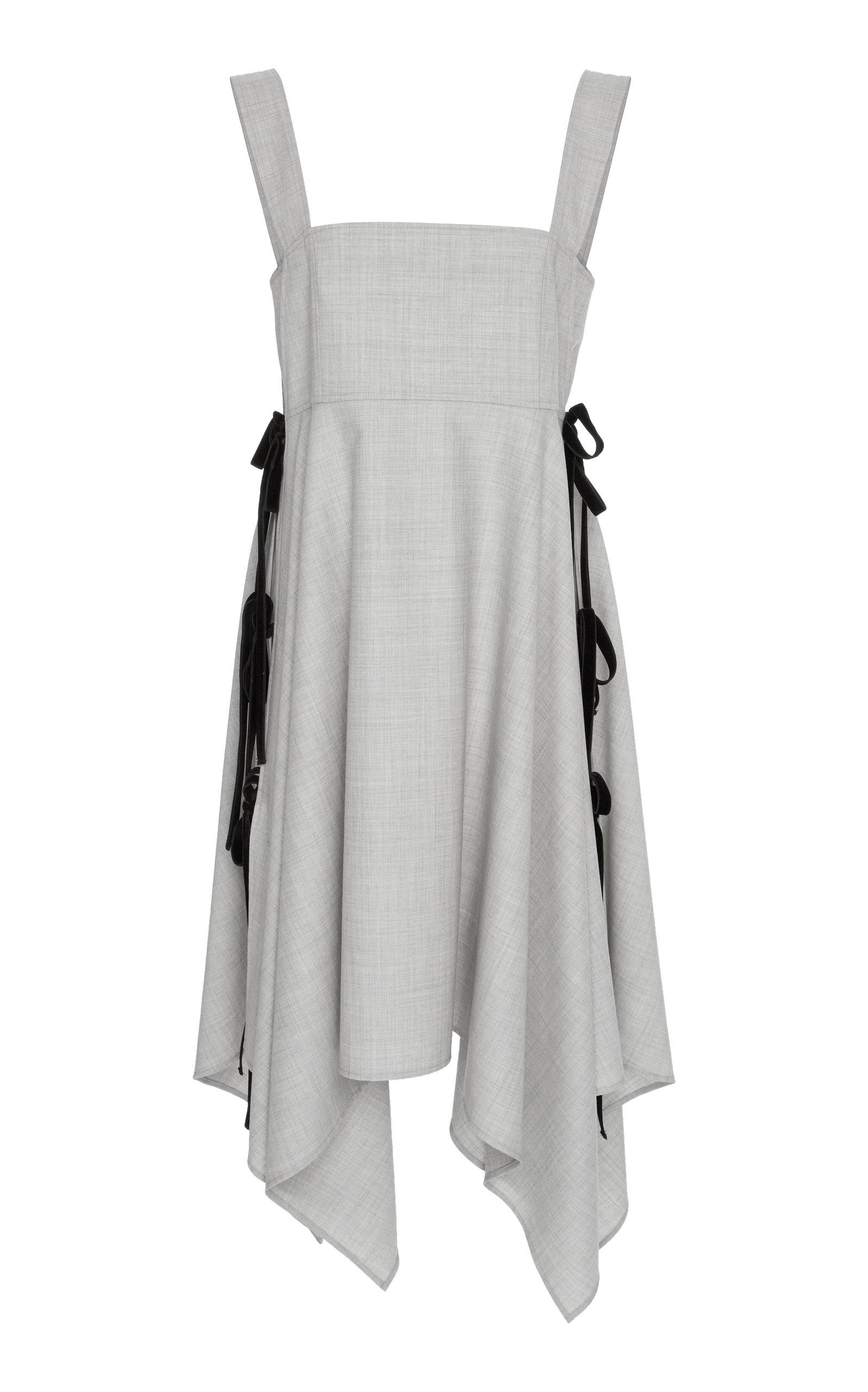 Adeam Velvet Trimmed Handkerchief Dress In Grey