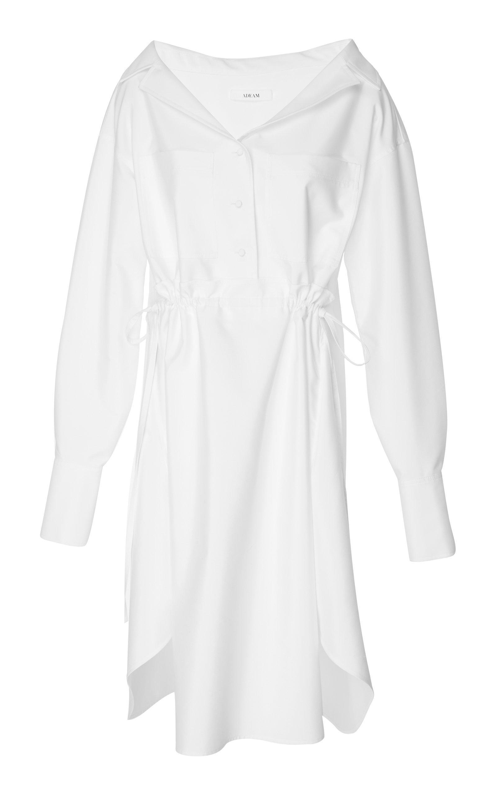 Adeam Drawstring Shirt Dress In White