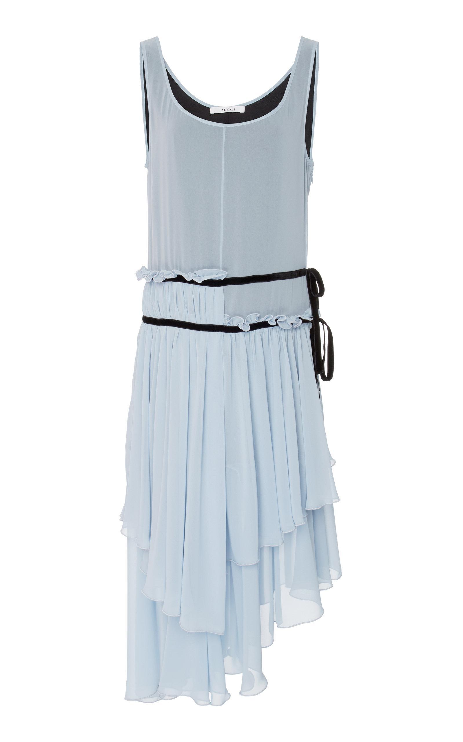 Adeam Ruched Handkerchief Dress In Blue