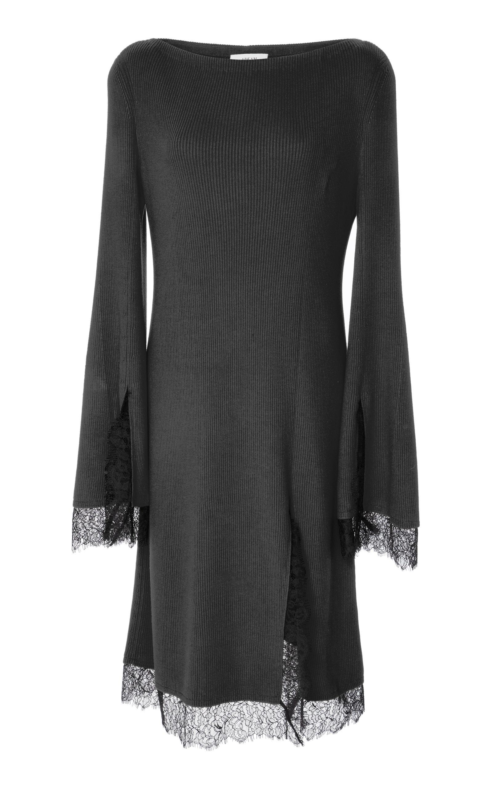 Adeam Lace Trimmed Slit Knit Dress In Black