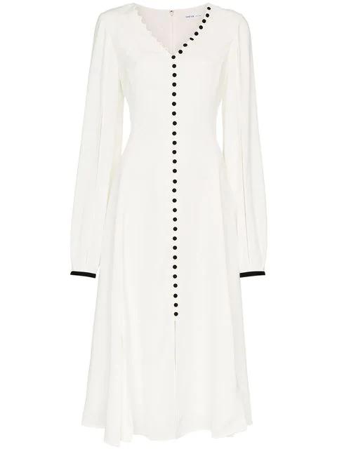 Adeam Button Front Split Sleeve Dress In White