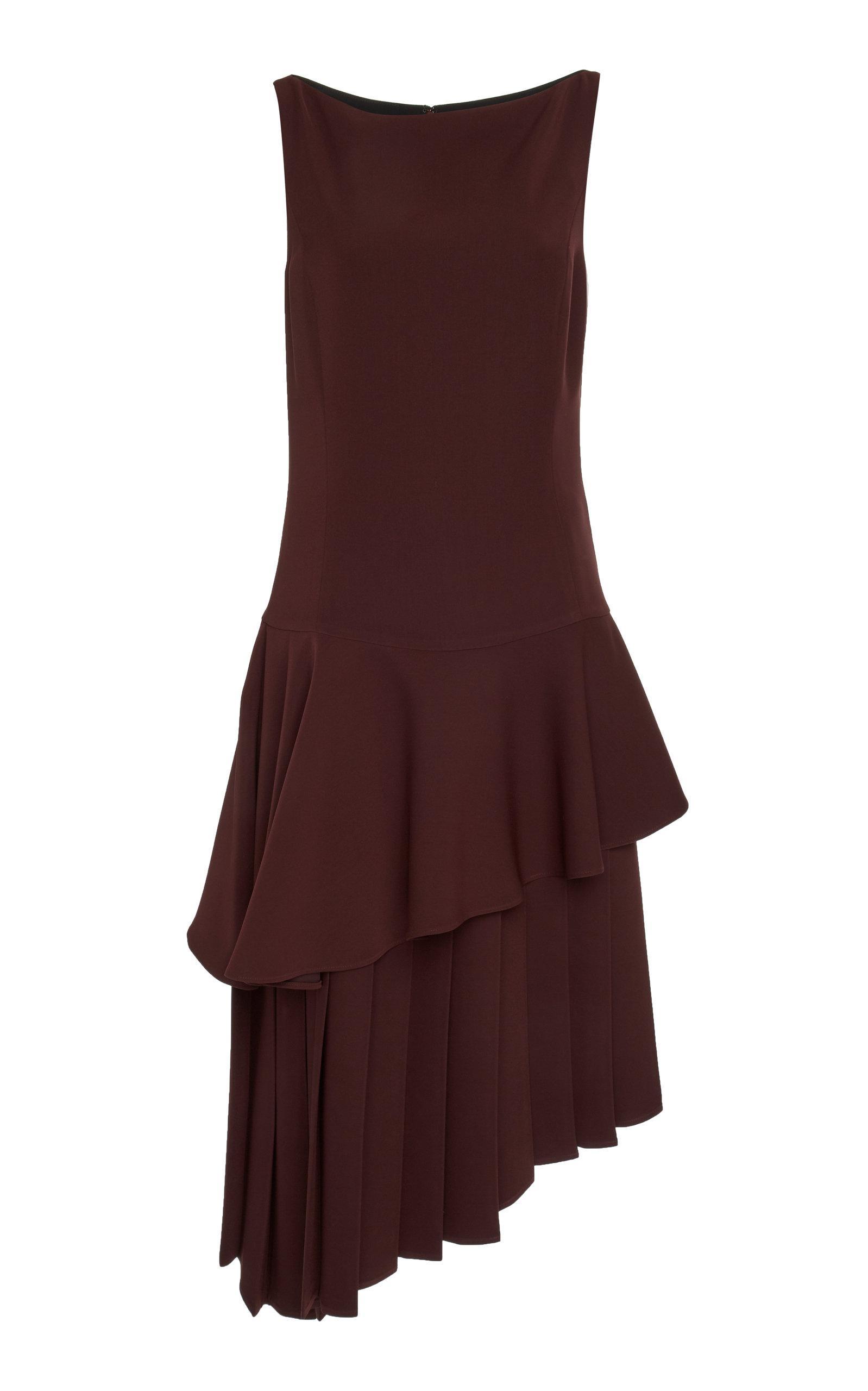 Adeam Pleated Moga Dress In Burgundy