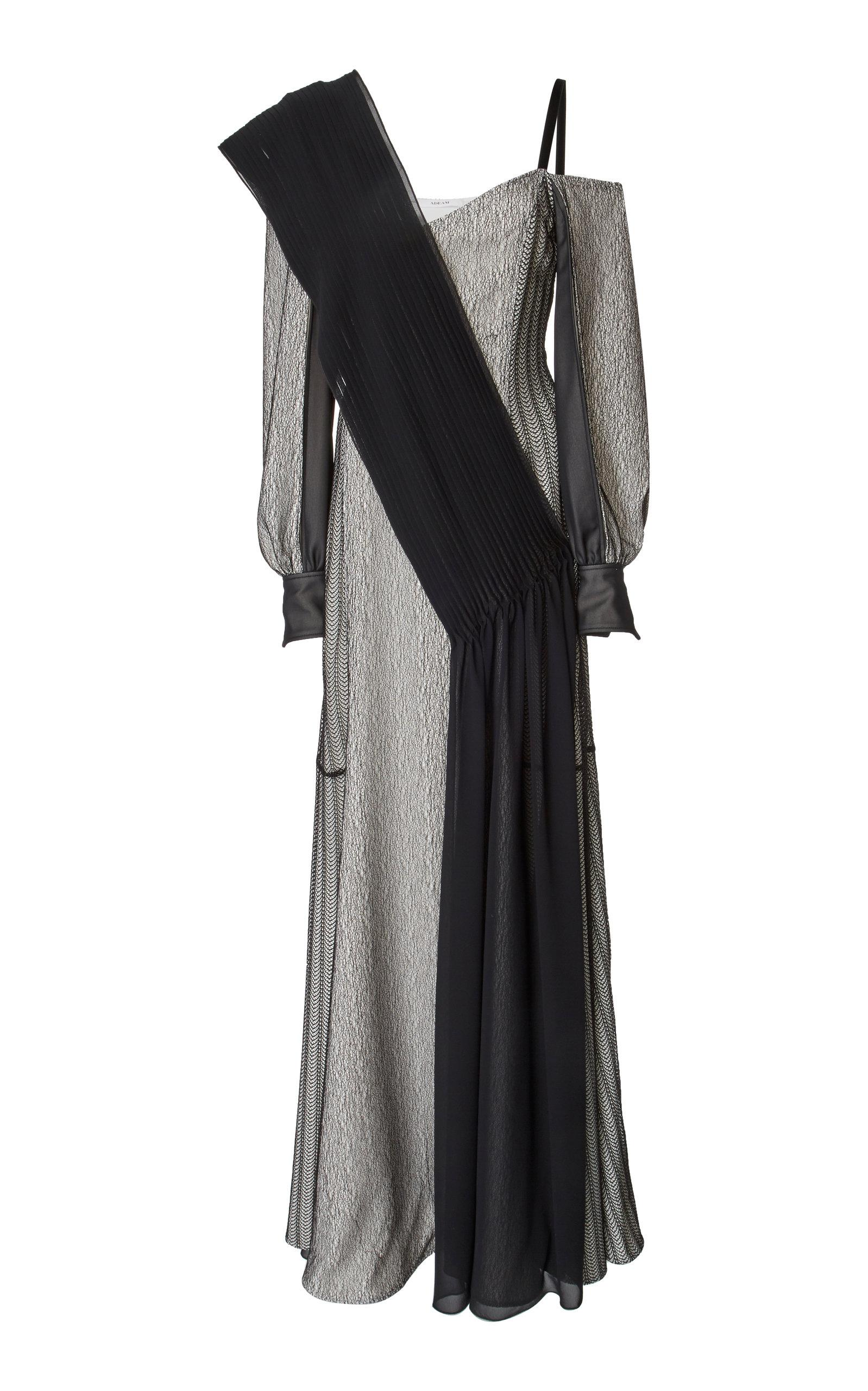Adeam Art Deco Lace Gown In Black