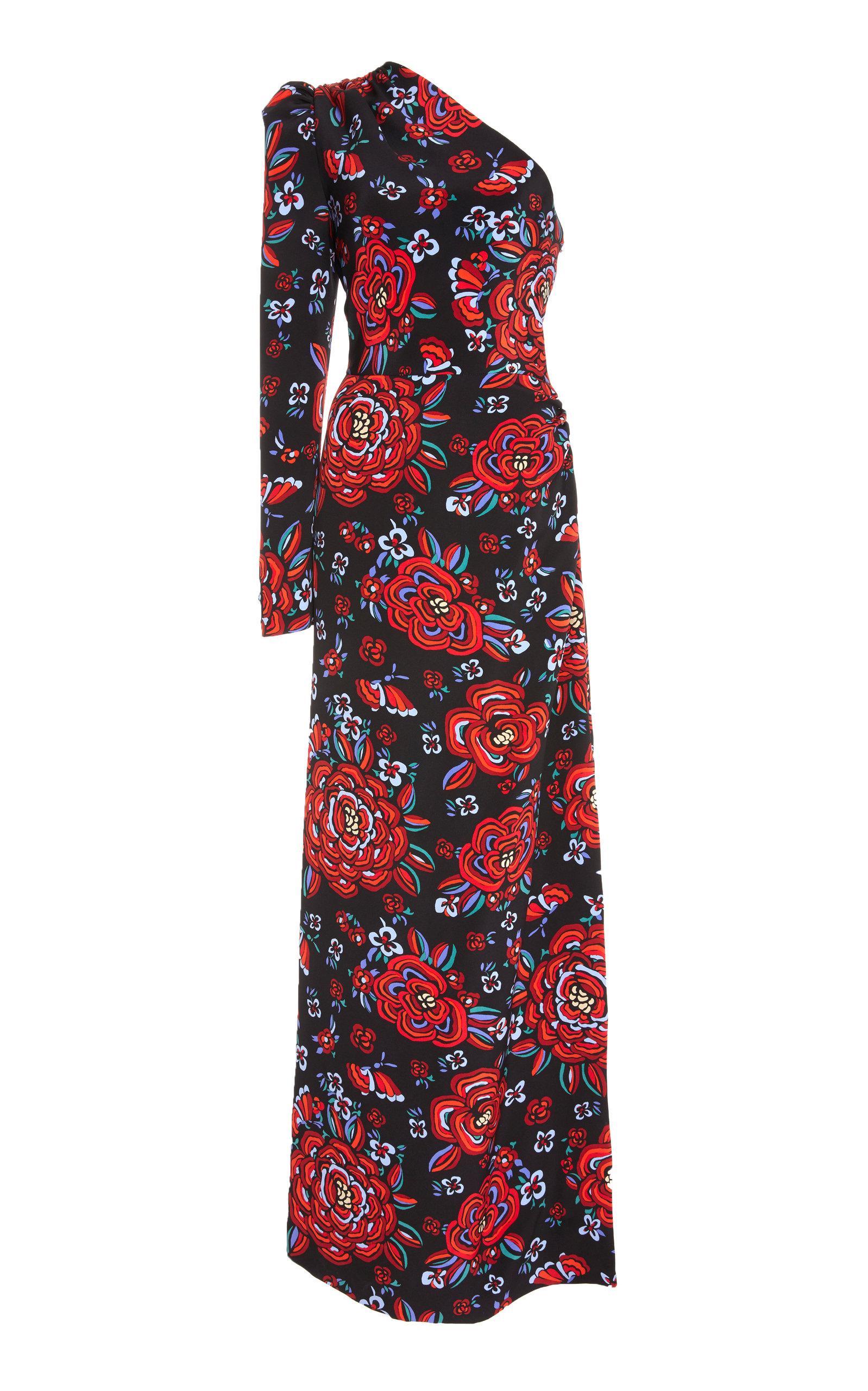 Rebecca De Ravenel Silk Georgette One Shoulder Gown In Floral