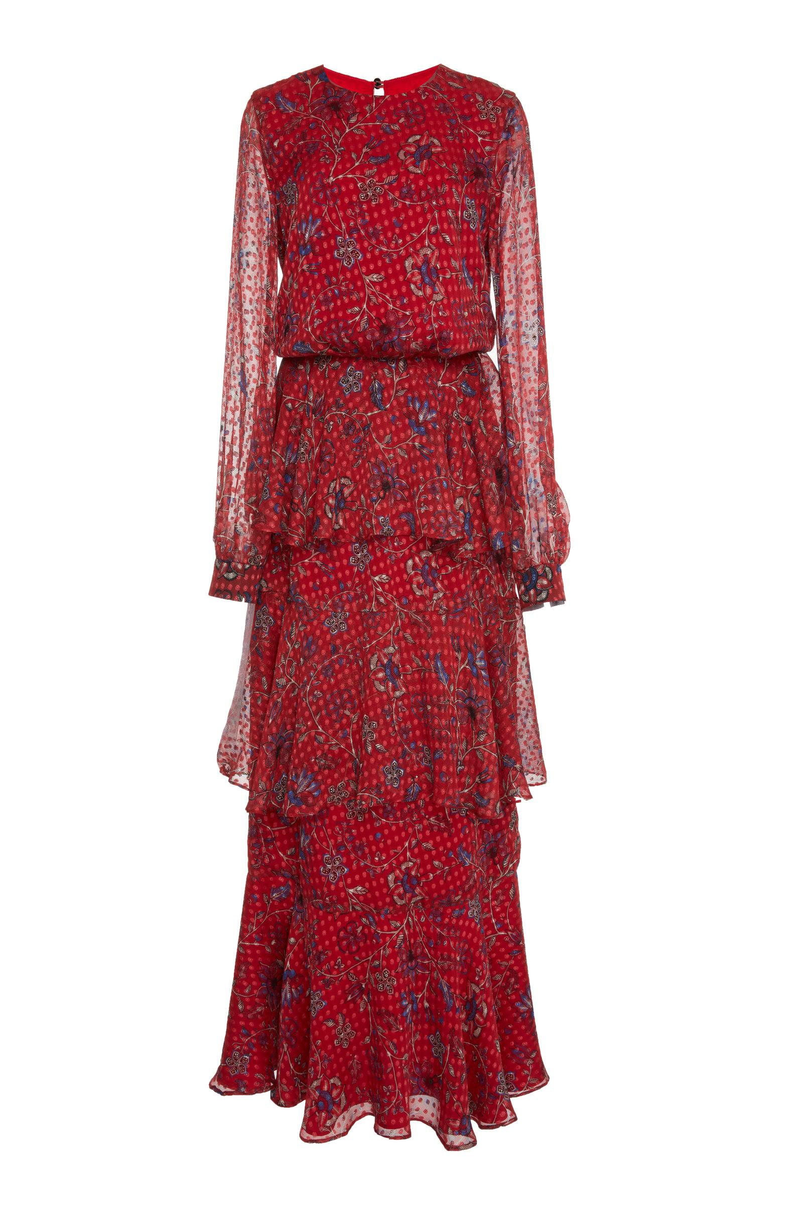 Rebecca De Ravenel Printed Chiffon Long Dress