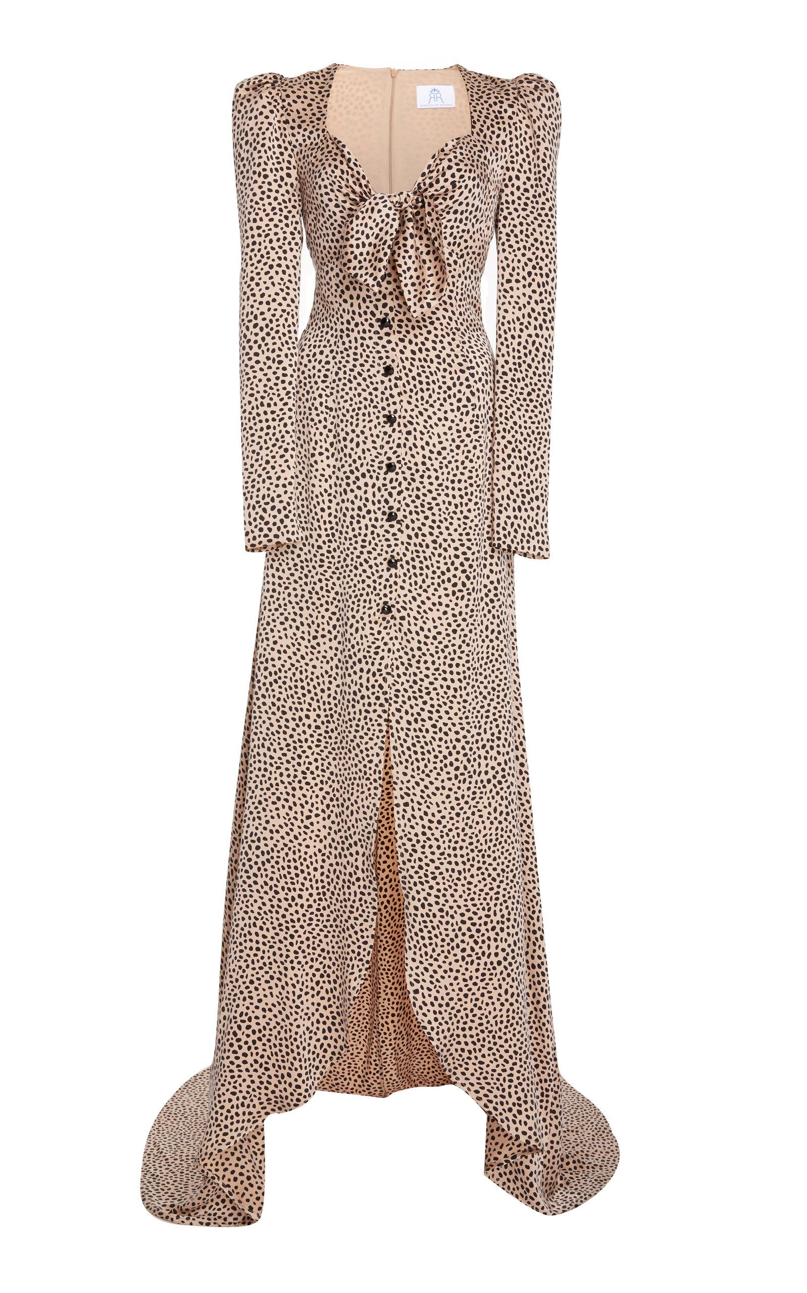 Rebecca De Ravenel Exclusive Tie-front Polka-dot Silk-charmeuse Gown In Animal