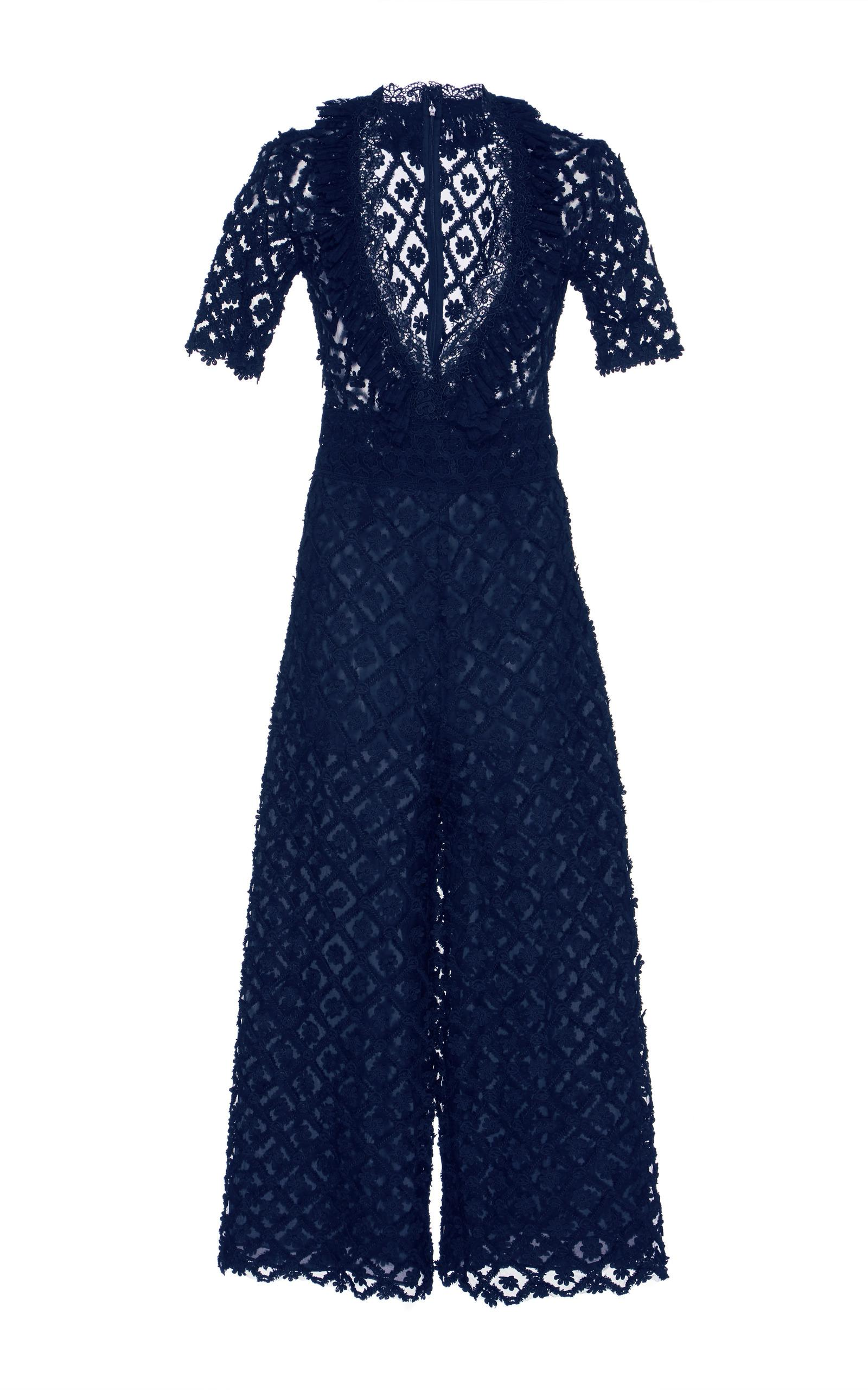 Costarellos V-neck Lace Cropped Jumpsuit In Blue
