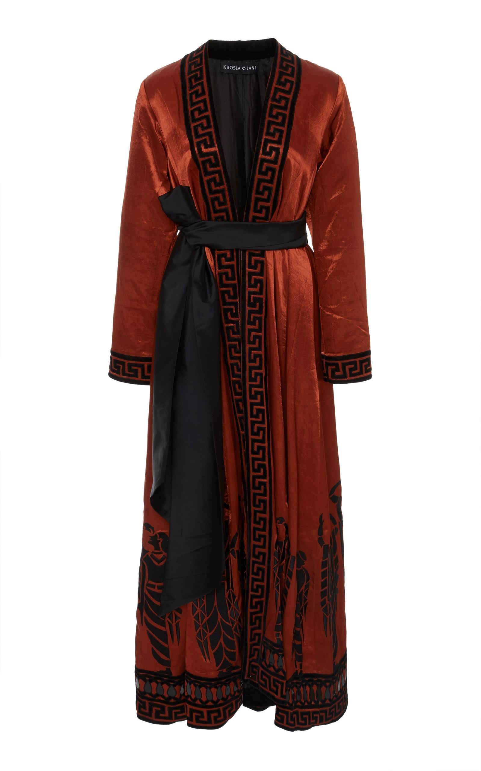Khosla Jani Velvet Dancer Coat In Brown