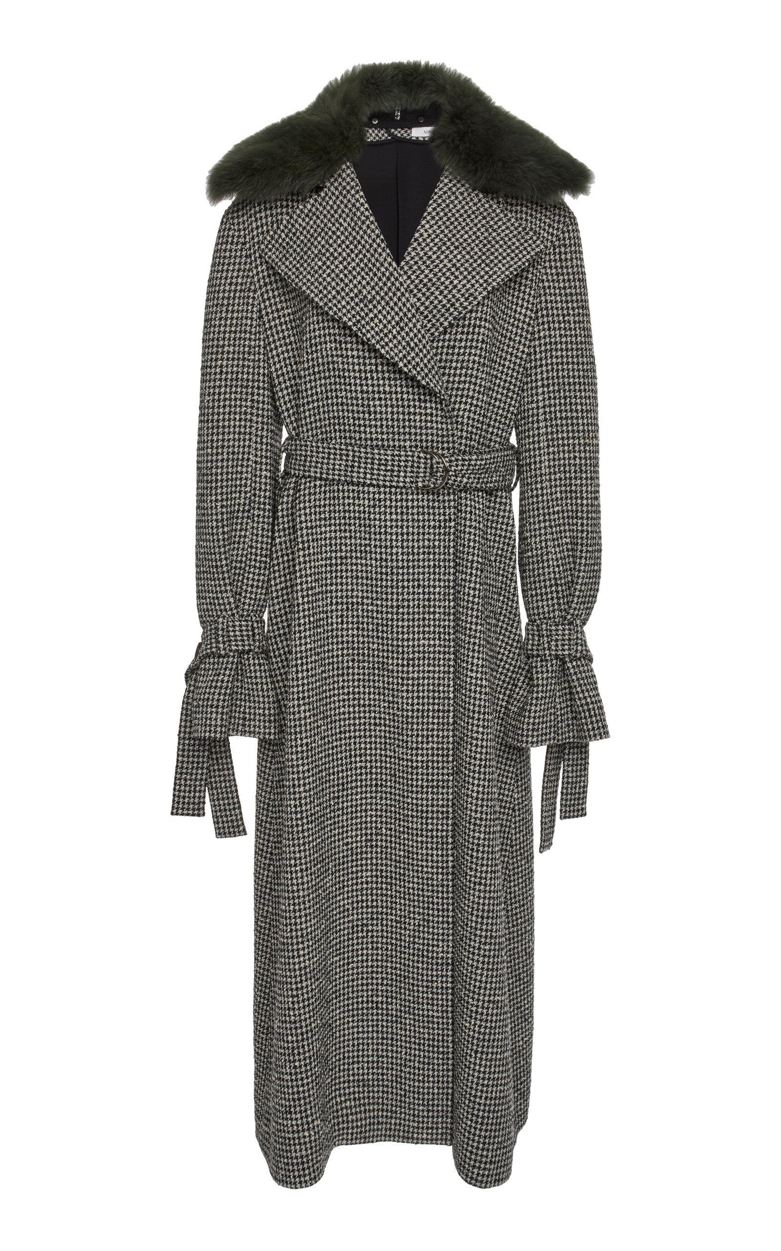Adeam Robe Trench Coat In Black/white