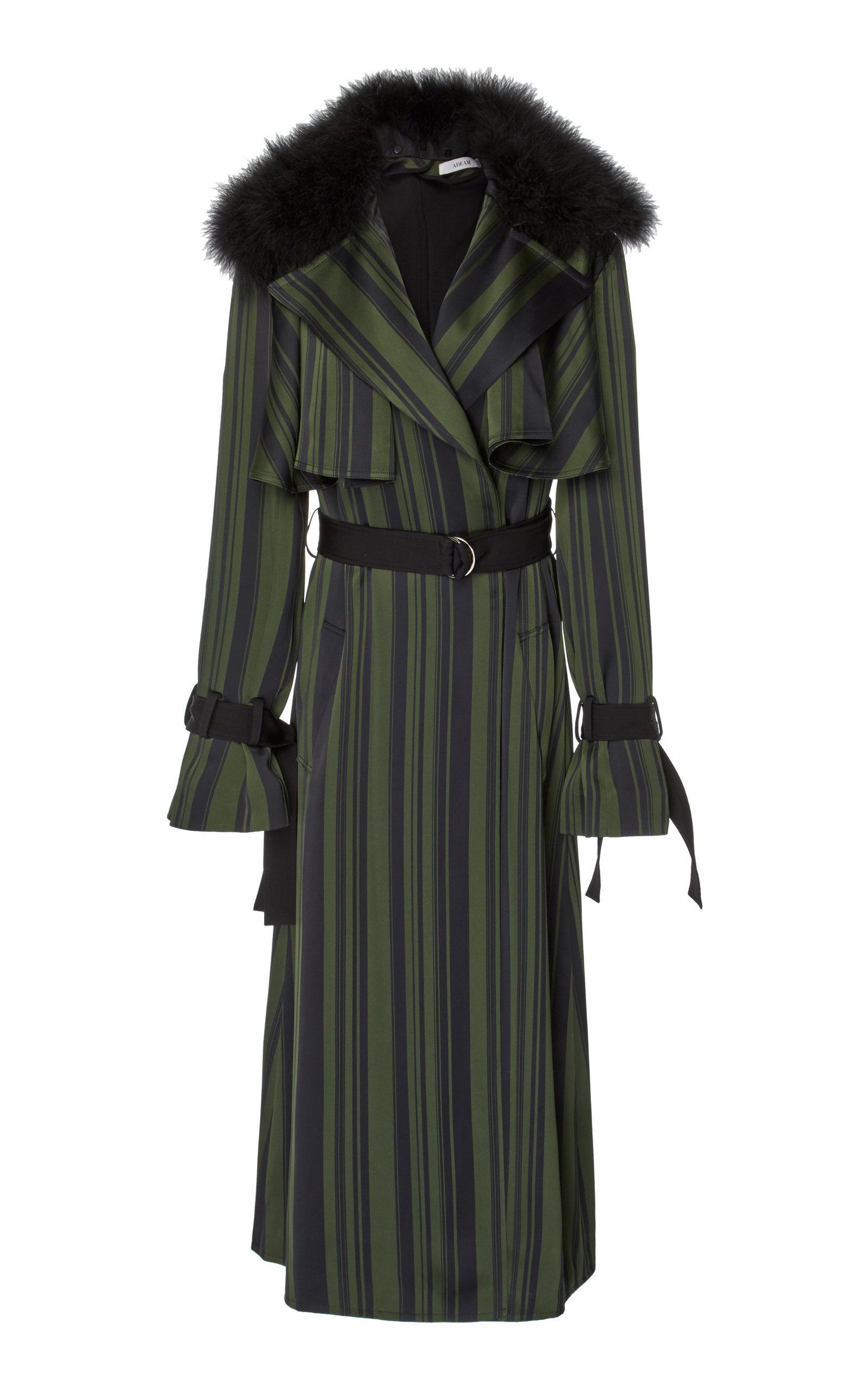 Adeam Ruffle Robe Trench Coat In Stripe
