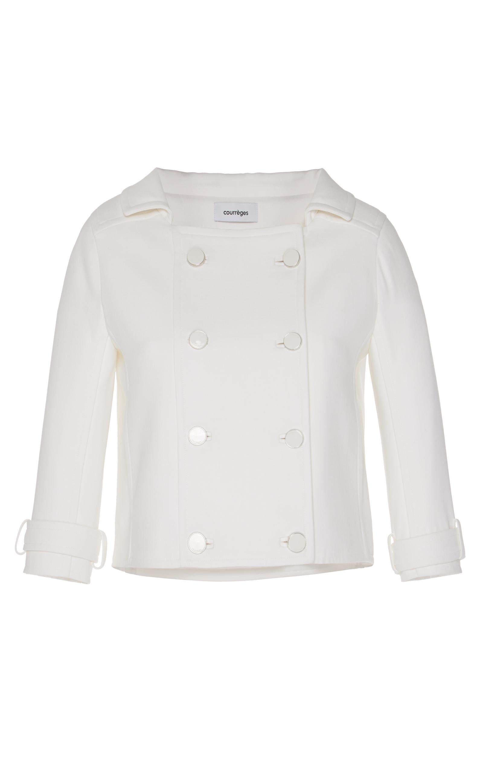 CourrÈges Double Breasted Cropped Jacket In White