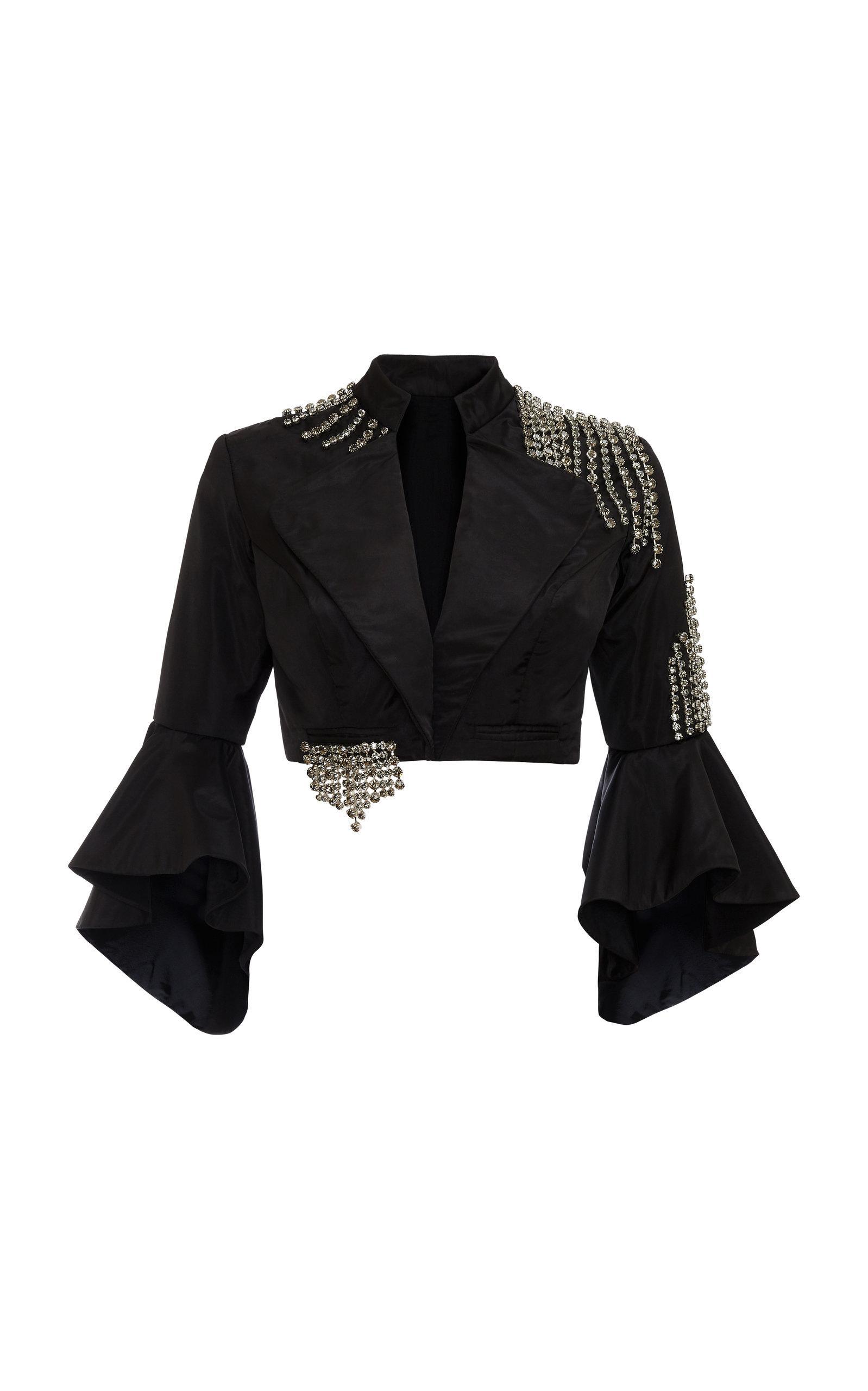 Khosla Jani Swarovski Stone Cropped Jacket In Black
