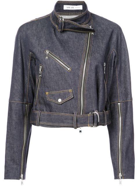 Adeam Cropped Biker Jacket In Blue