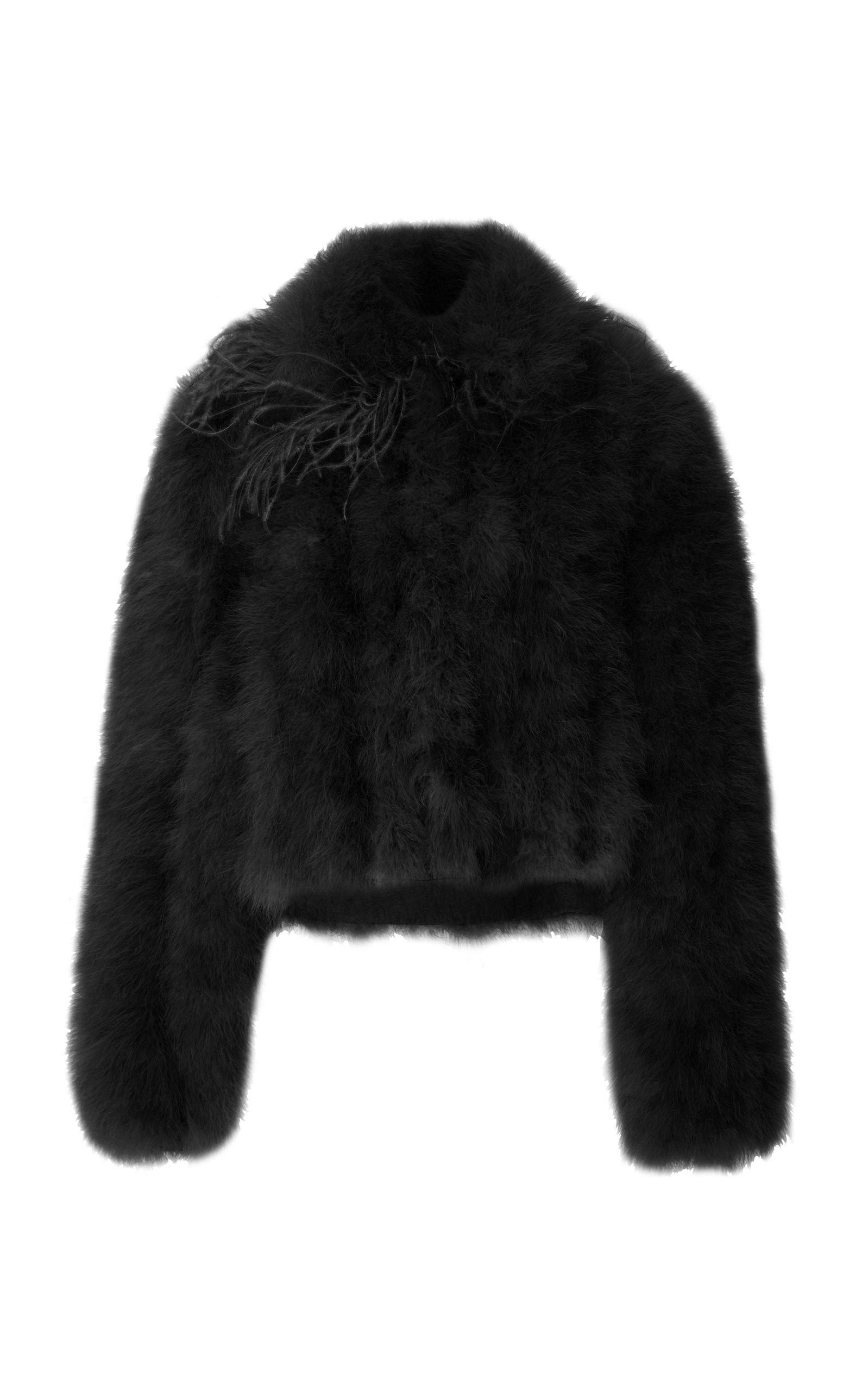Adeam Marabou Jacket In Black