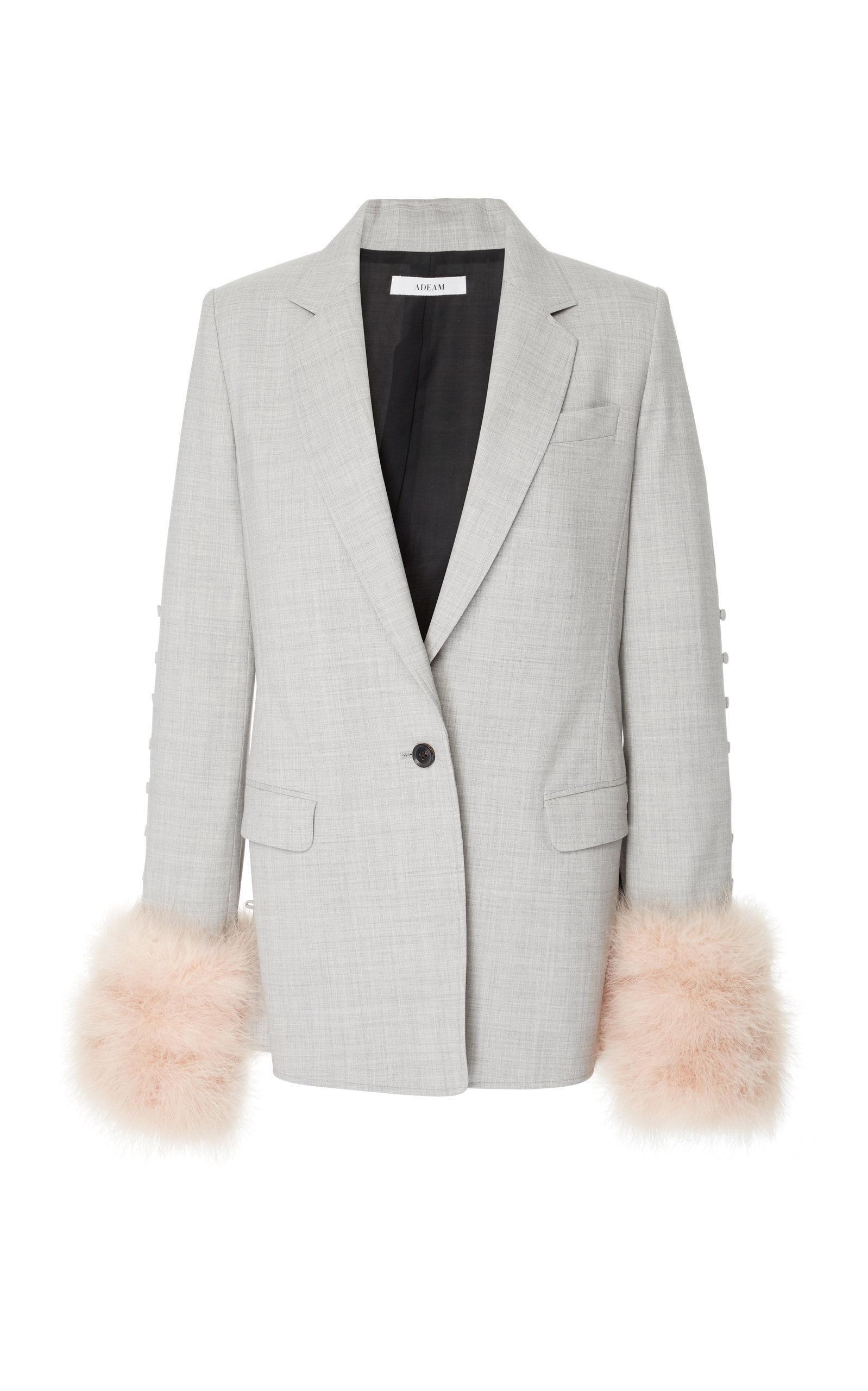 Adeam Convertible Tailored Jacket In Grey