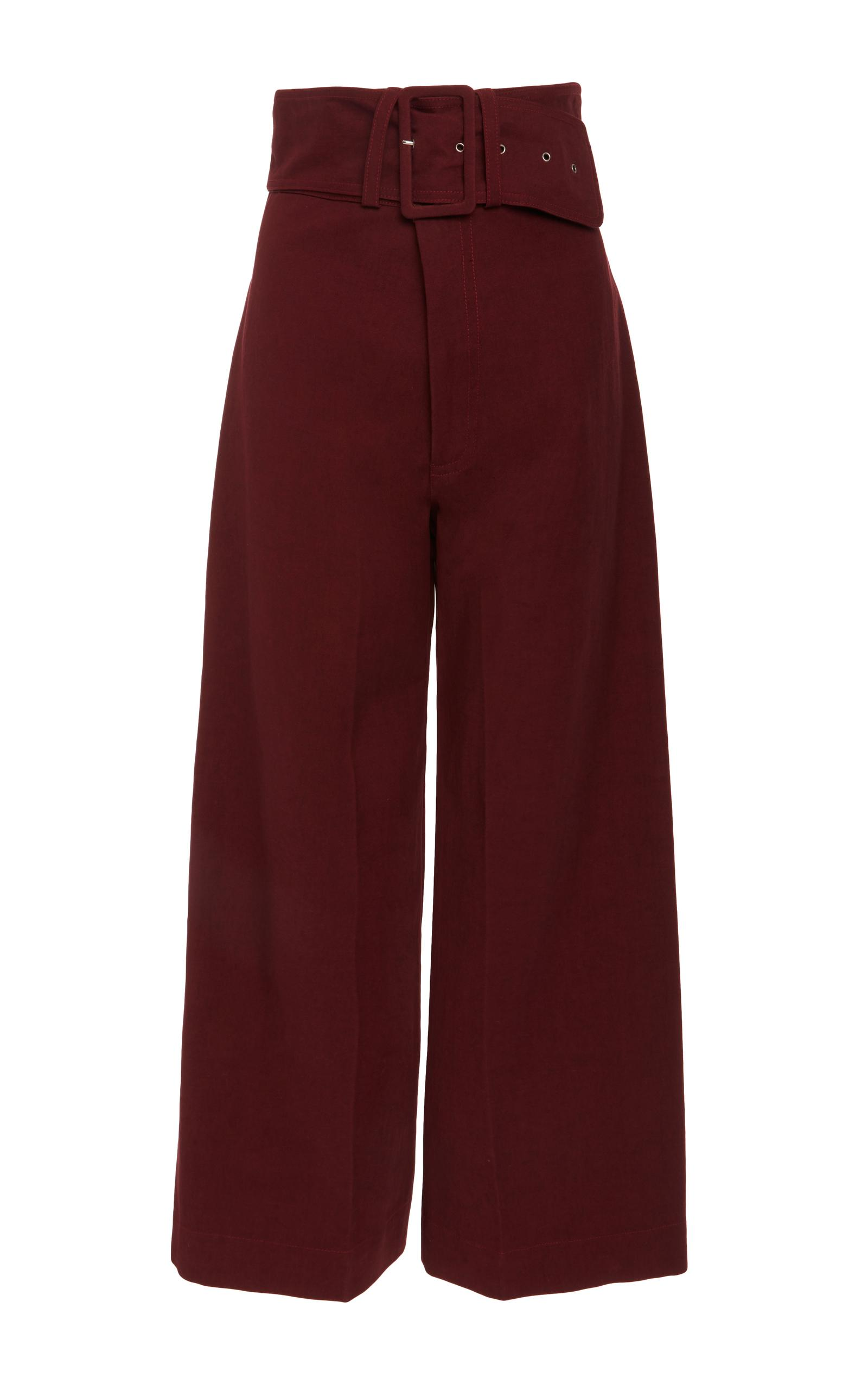 Sea Belted Cropped Cotton-blend Pants In Red