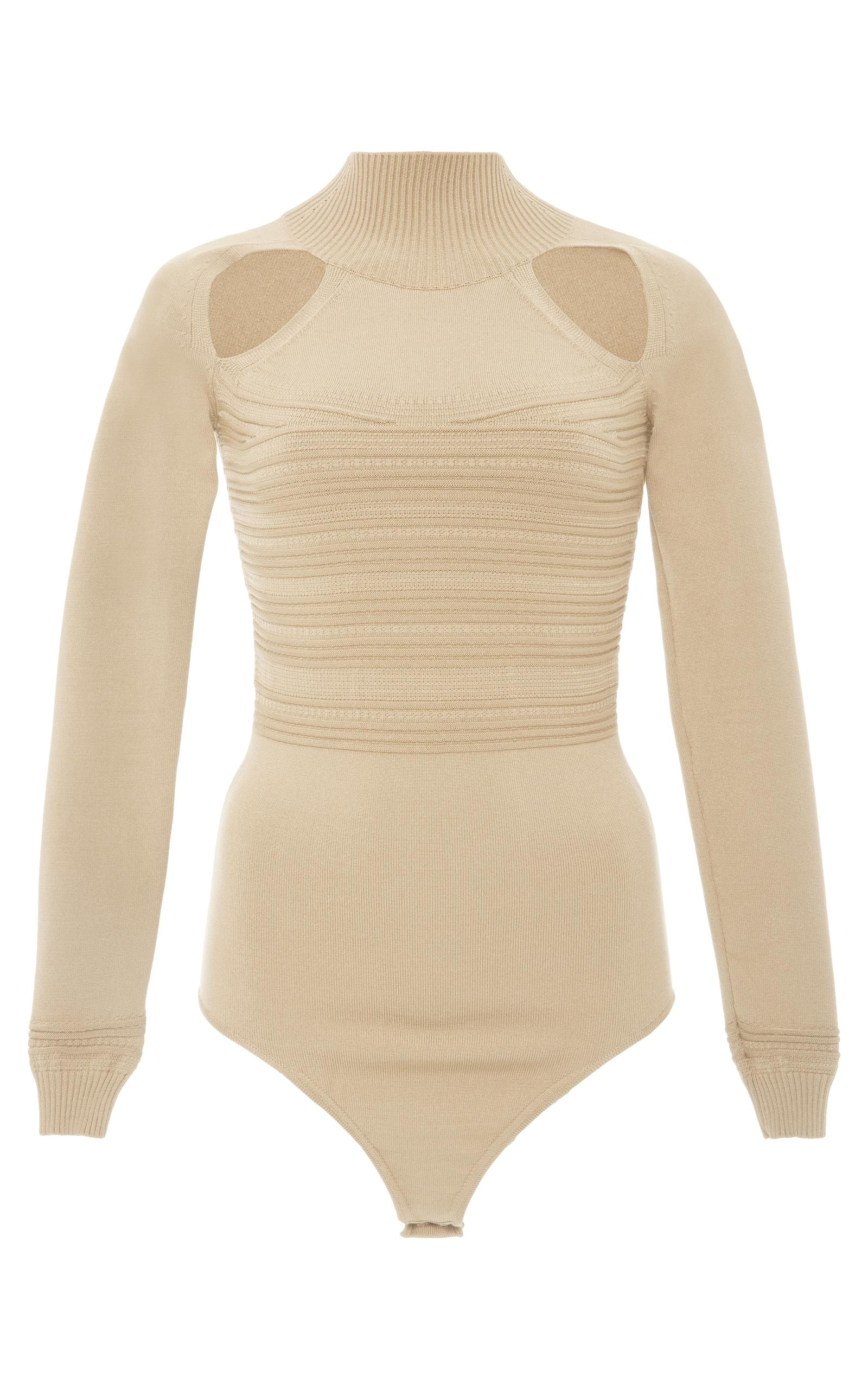 Cushnie Et Ochs Rayon Viscose Fiona Bodysuit In Neutral