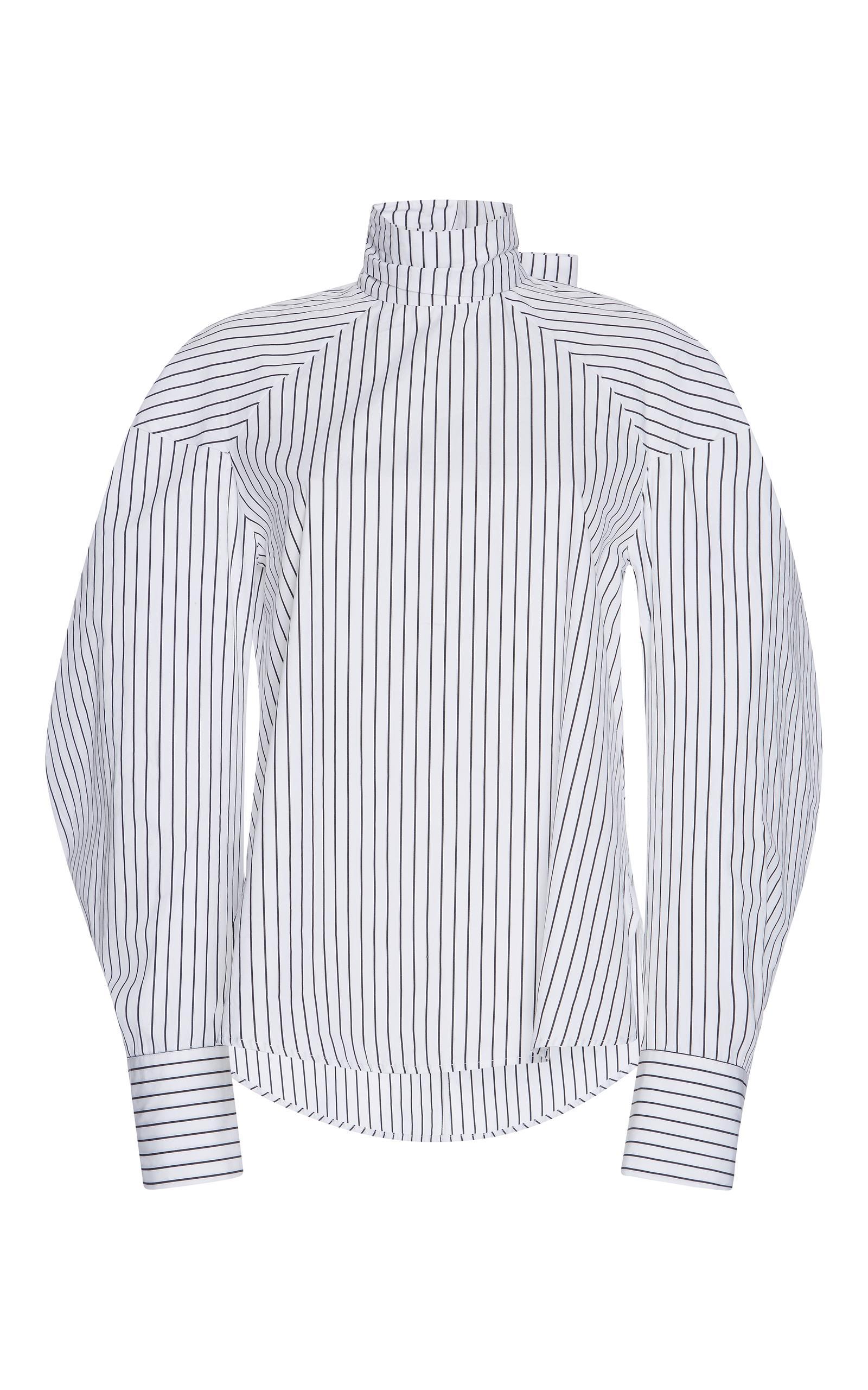 Msgm Pinstripe Bow-embellished Shirt In Black%2fwhite