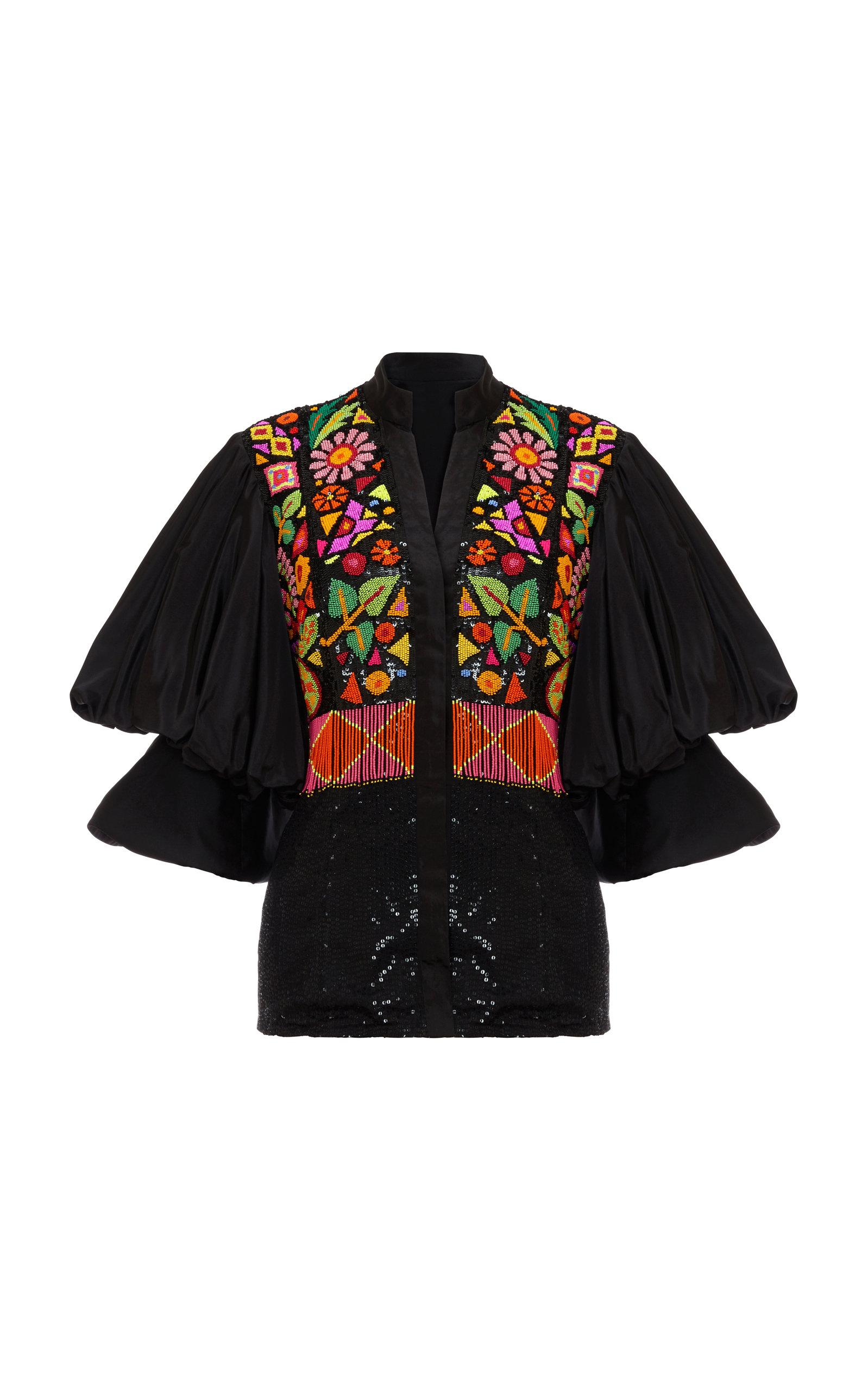 Khosla Jani Beaded Poof Sleeve Blouse In Multi