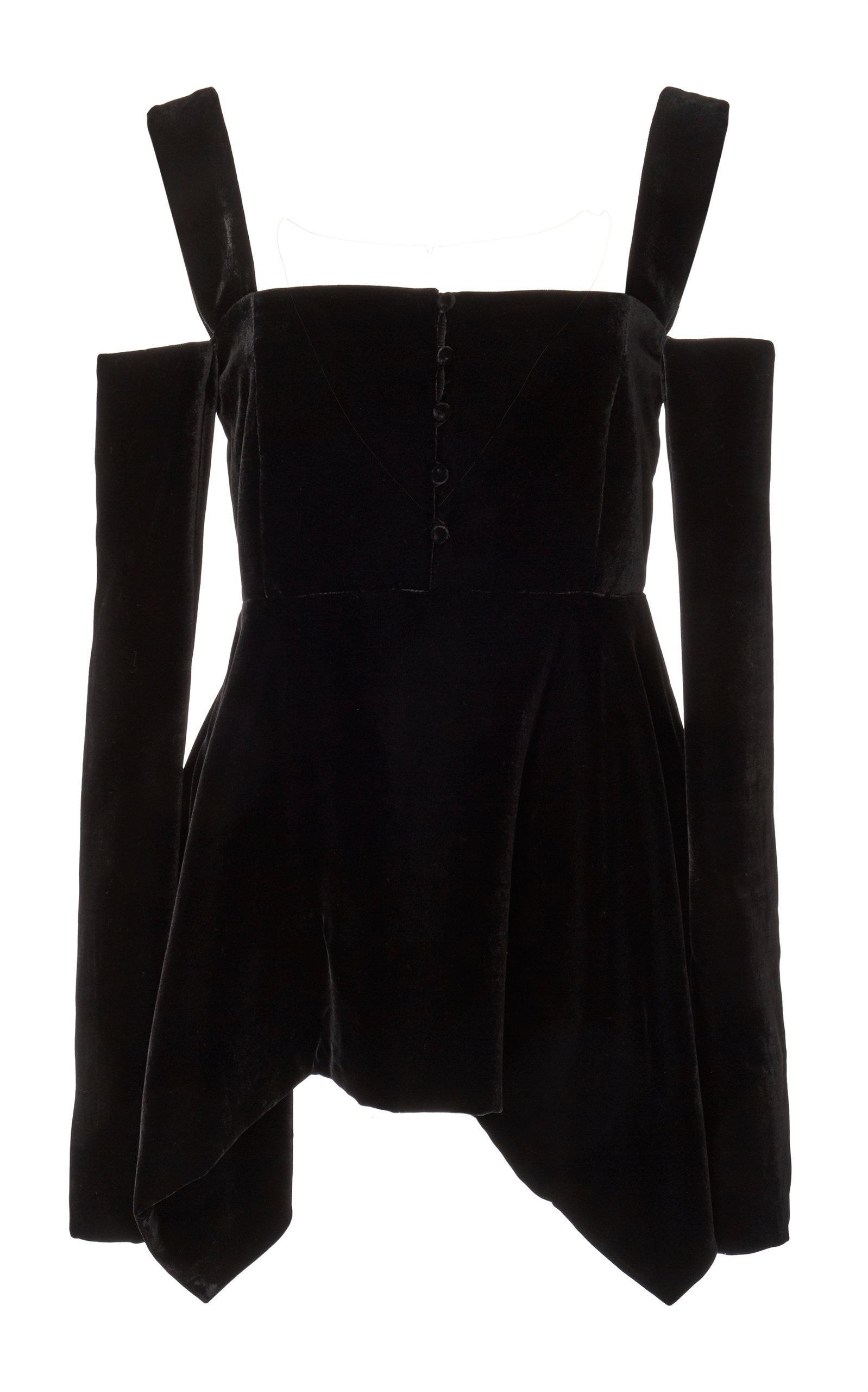 Adeam Long Sleeve Handkerchief Top In Black