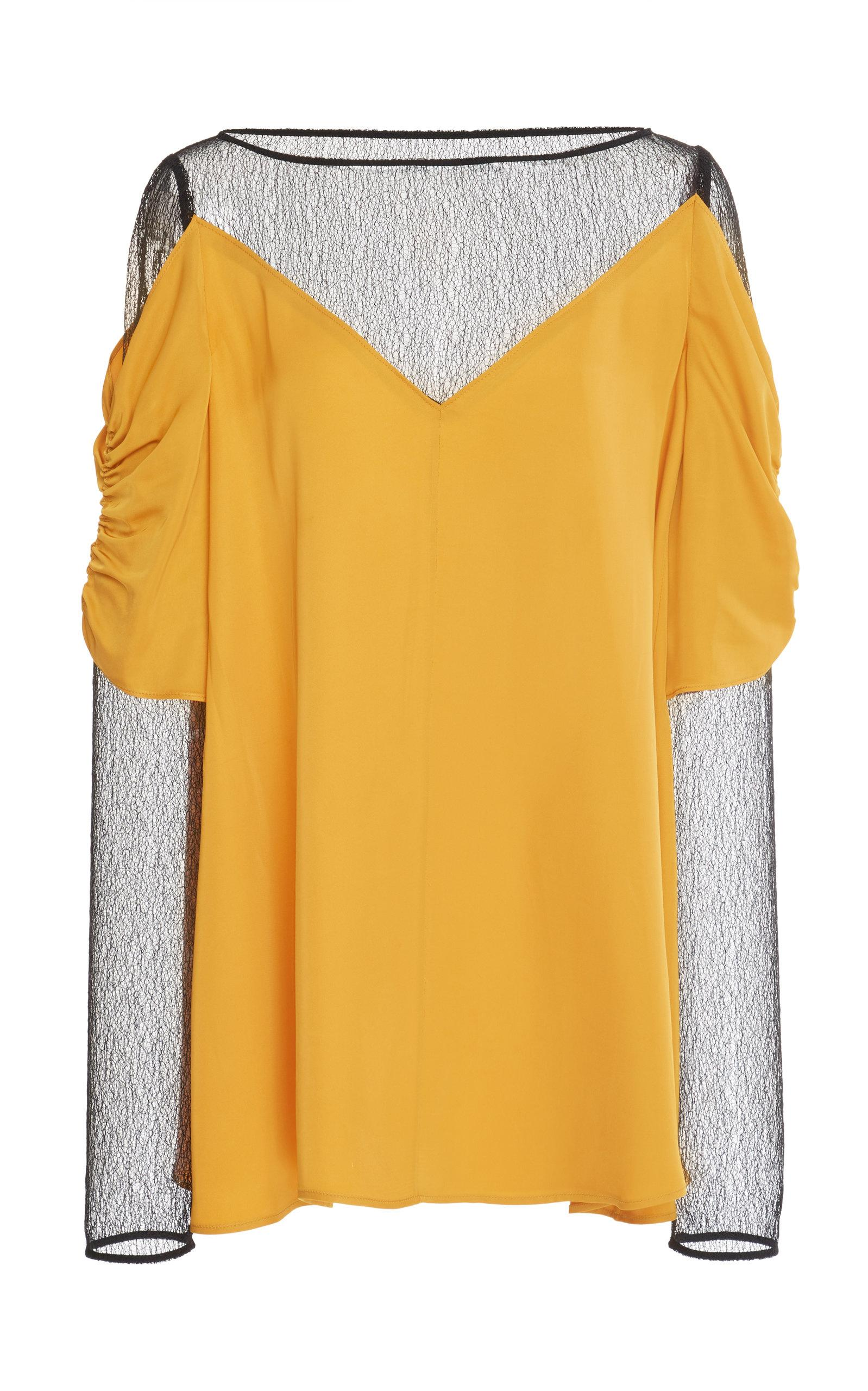 Adeam Layered Lace Top In Yellow