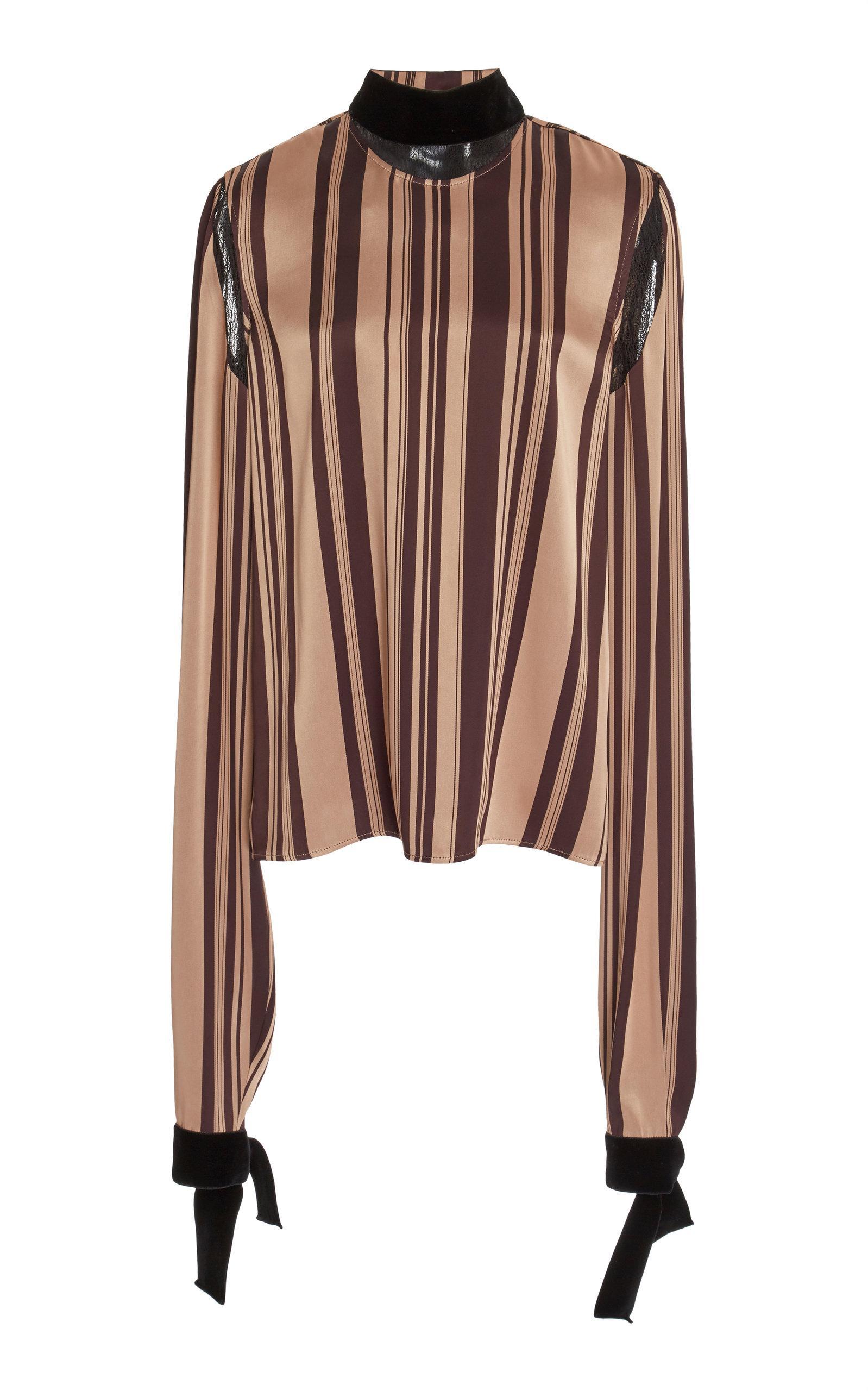 Adeam Lace Trimmed Pajama Top In Stripe
