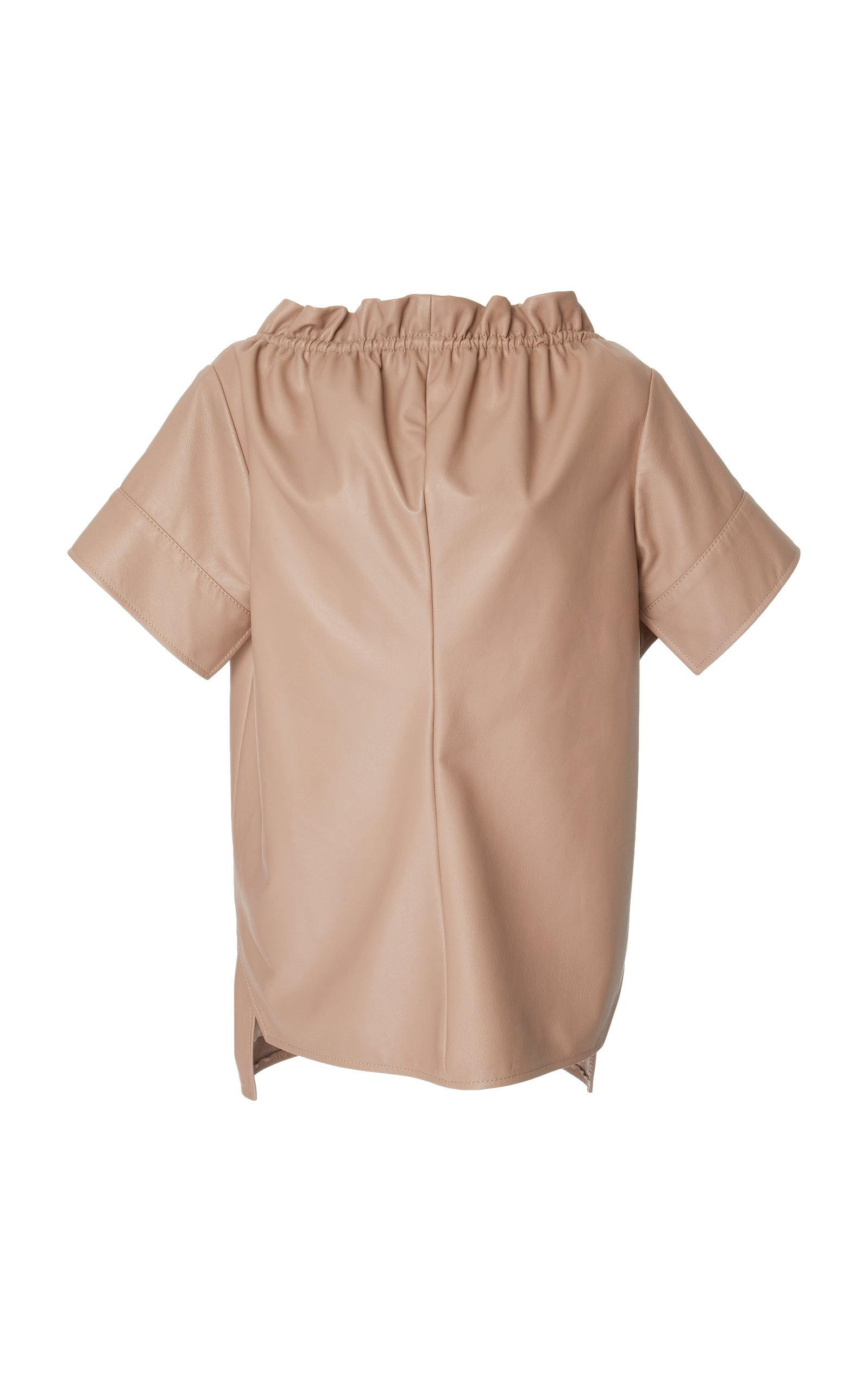 Adeam Ruched Velvet Ribbon Top In Brown