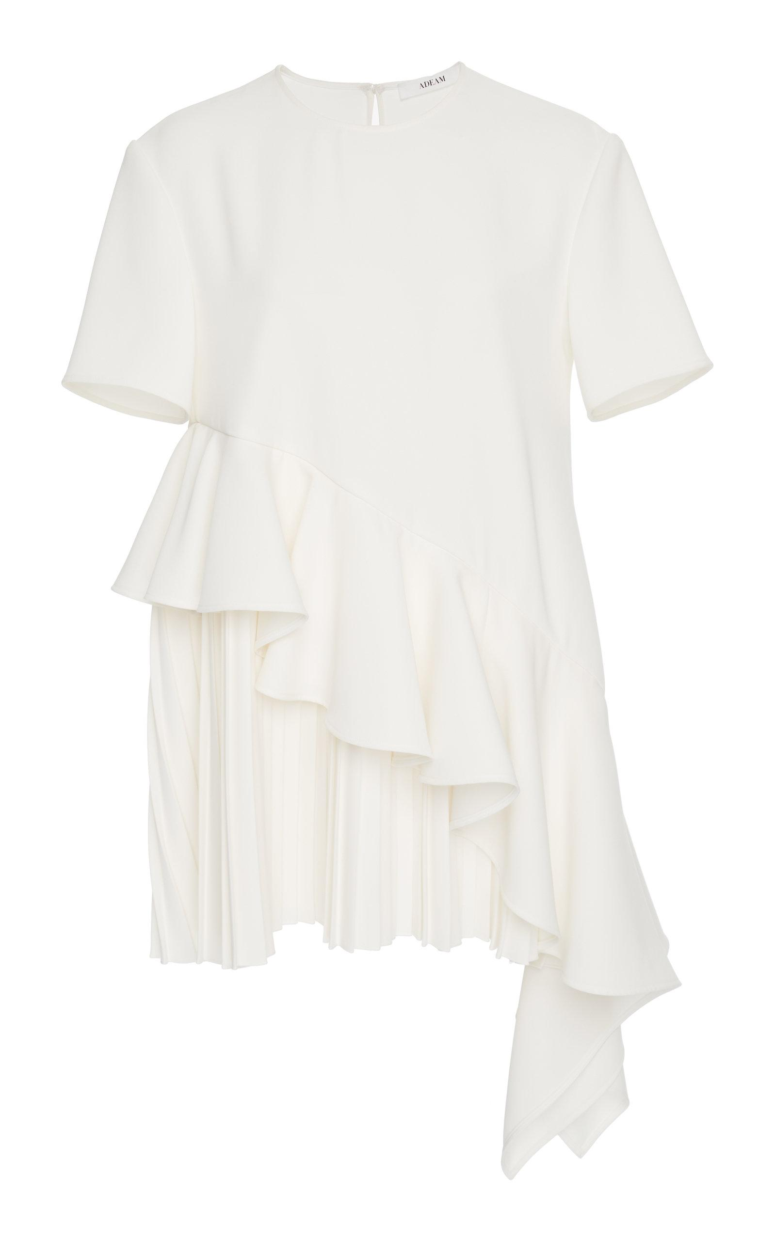 Adeam Pleated Top In White